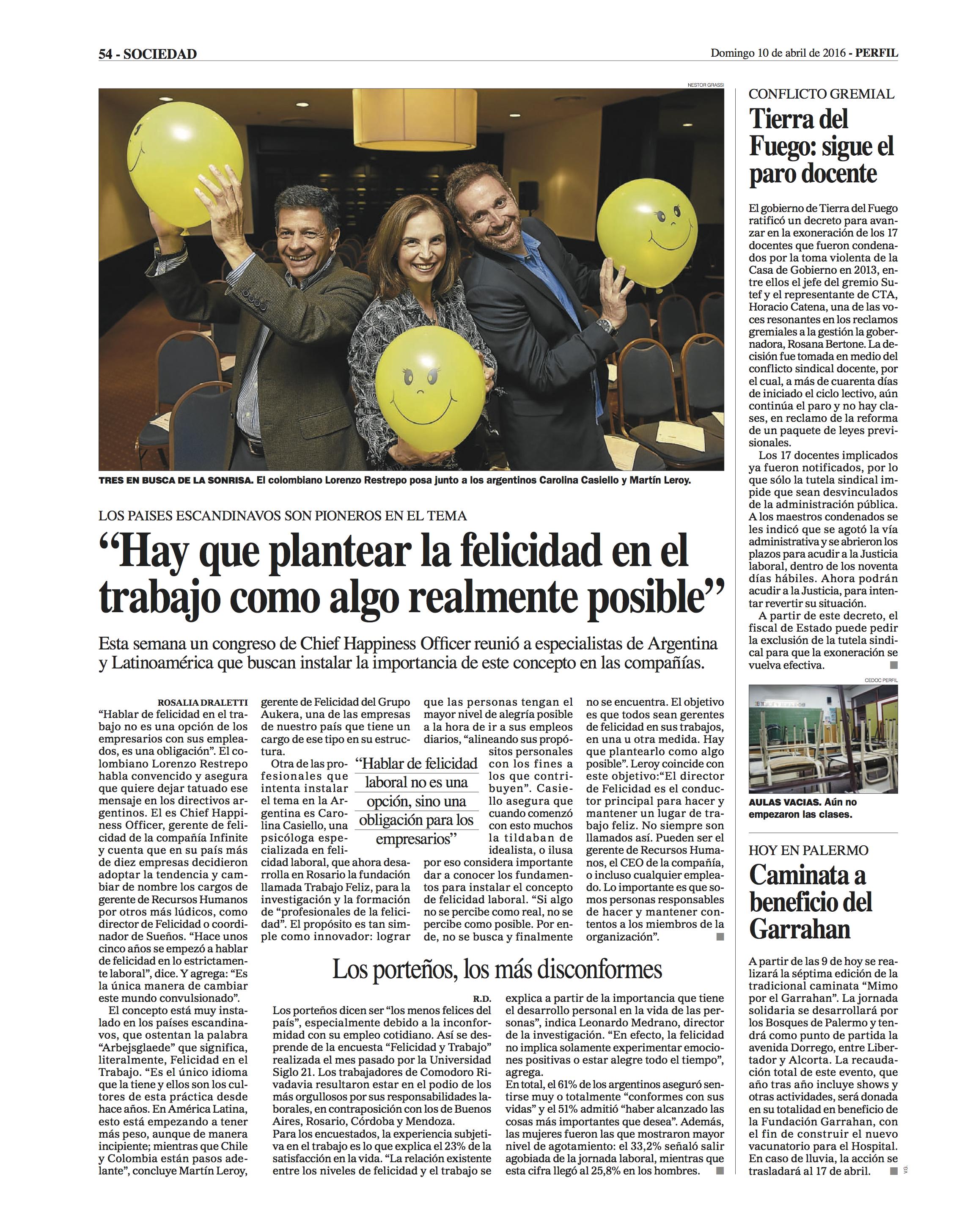 Nota Diario Perfil - Abril 2016