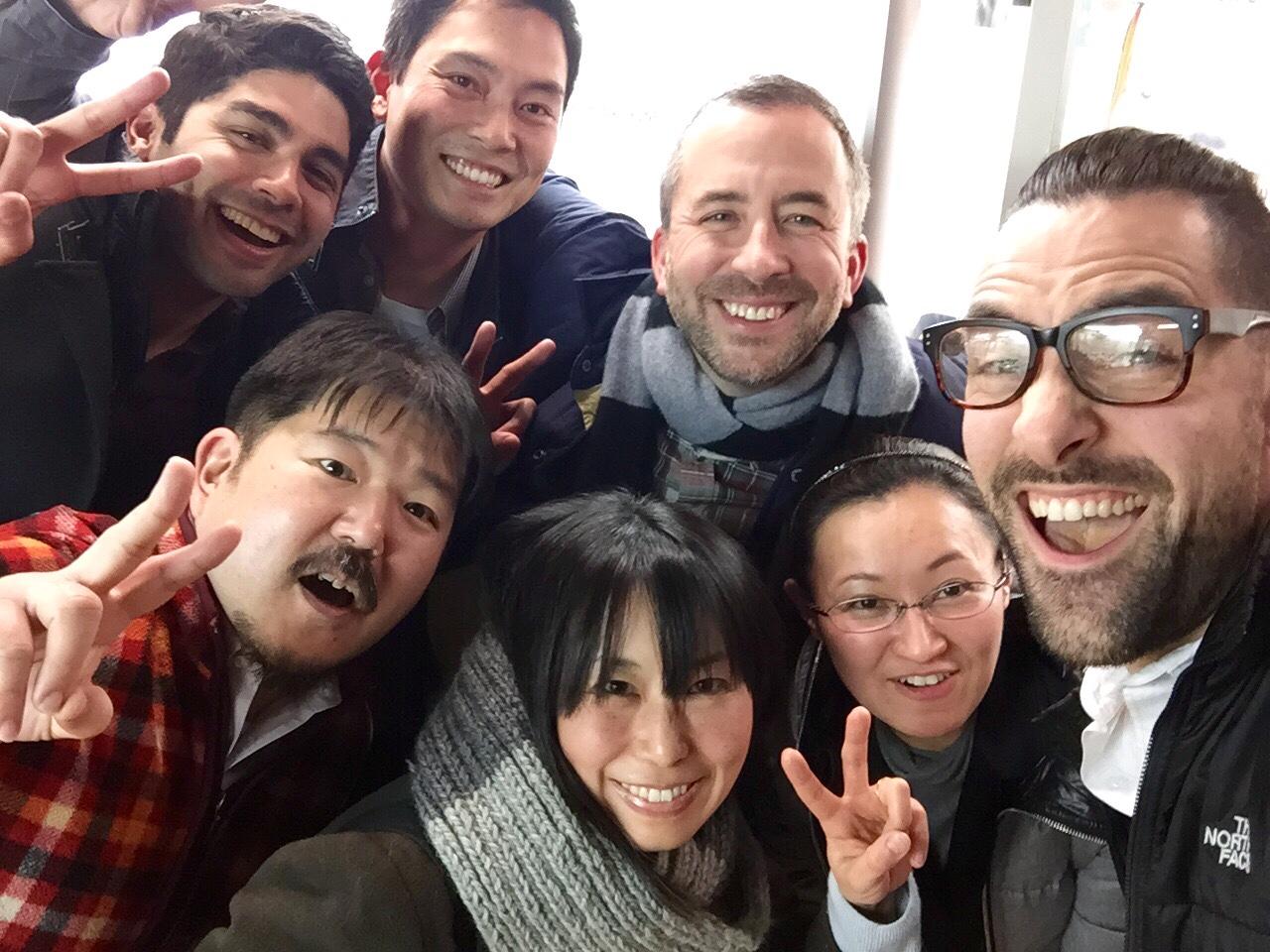 From left to right: Merrick, Trevor, Bill, Myself, Nobu, Tae, and Izumi