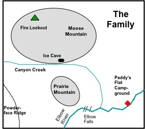 "Figure 5-1. Sketchmap of the location of Moose and Prairie mountains, ""The Family""."