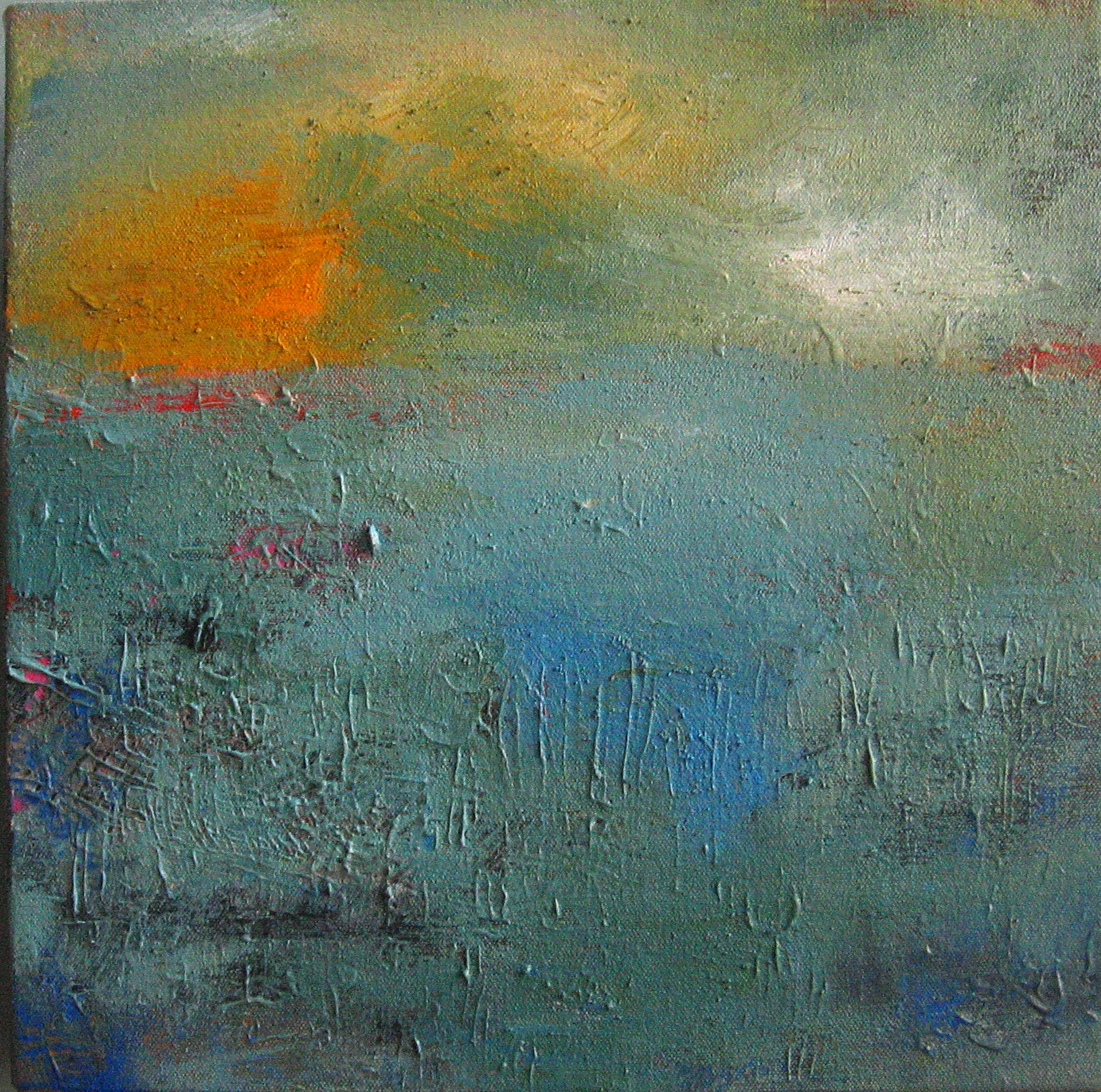 Middlesex Dusk<br/>12x12 mixed media on canvas