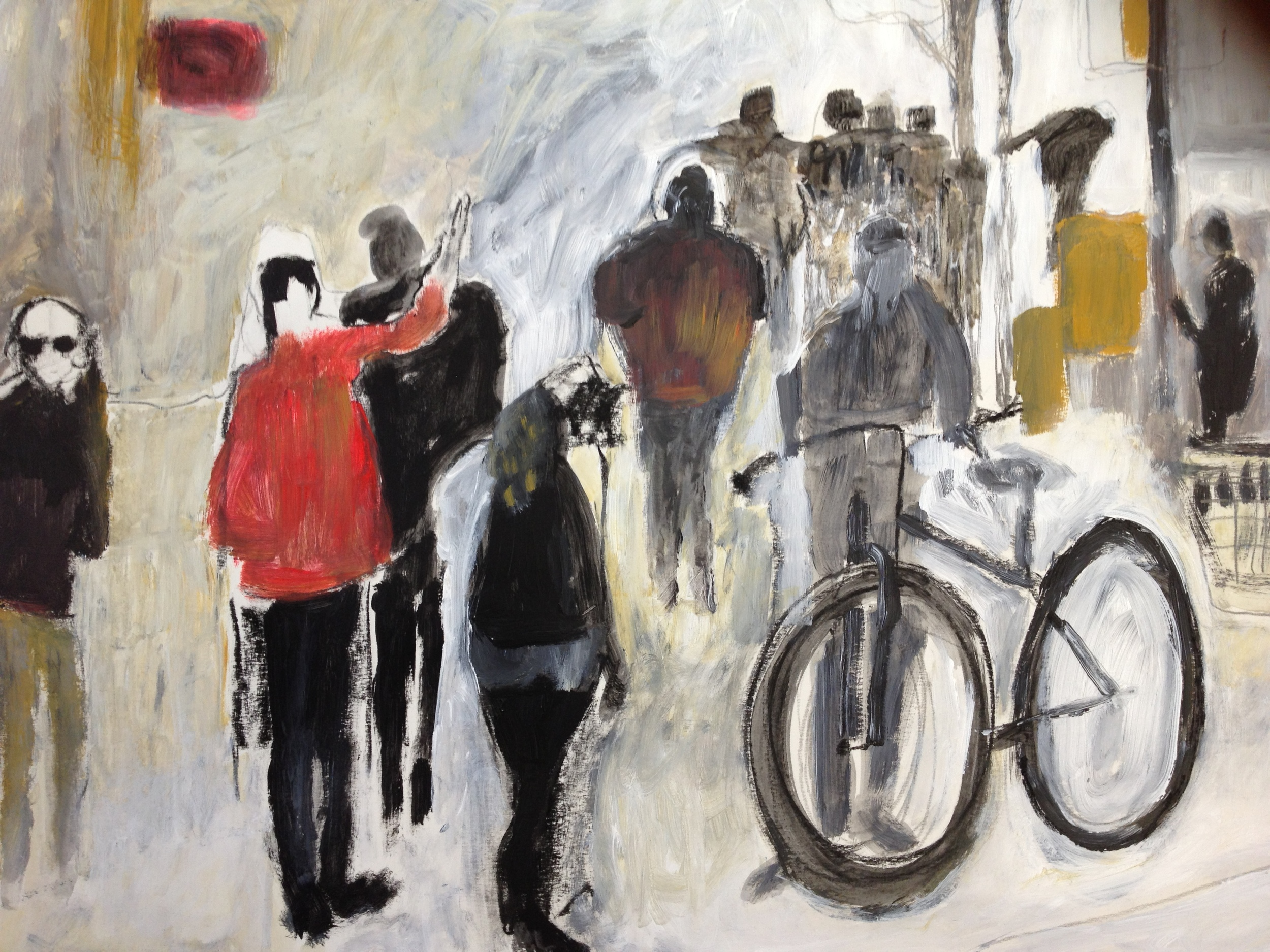 Bike to Work<br/>44x30 mixed media on paper