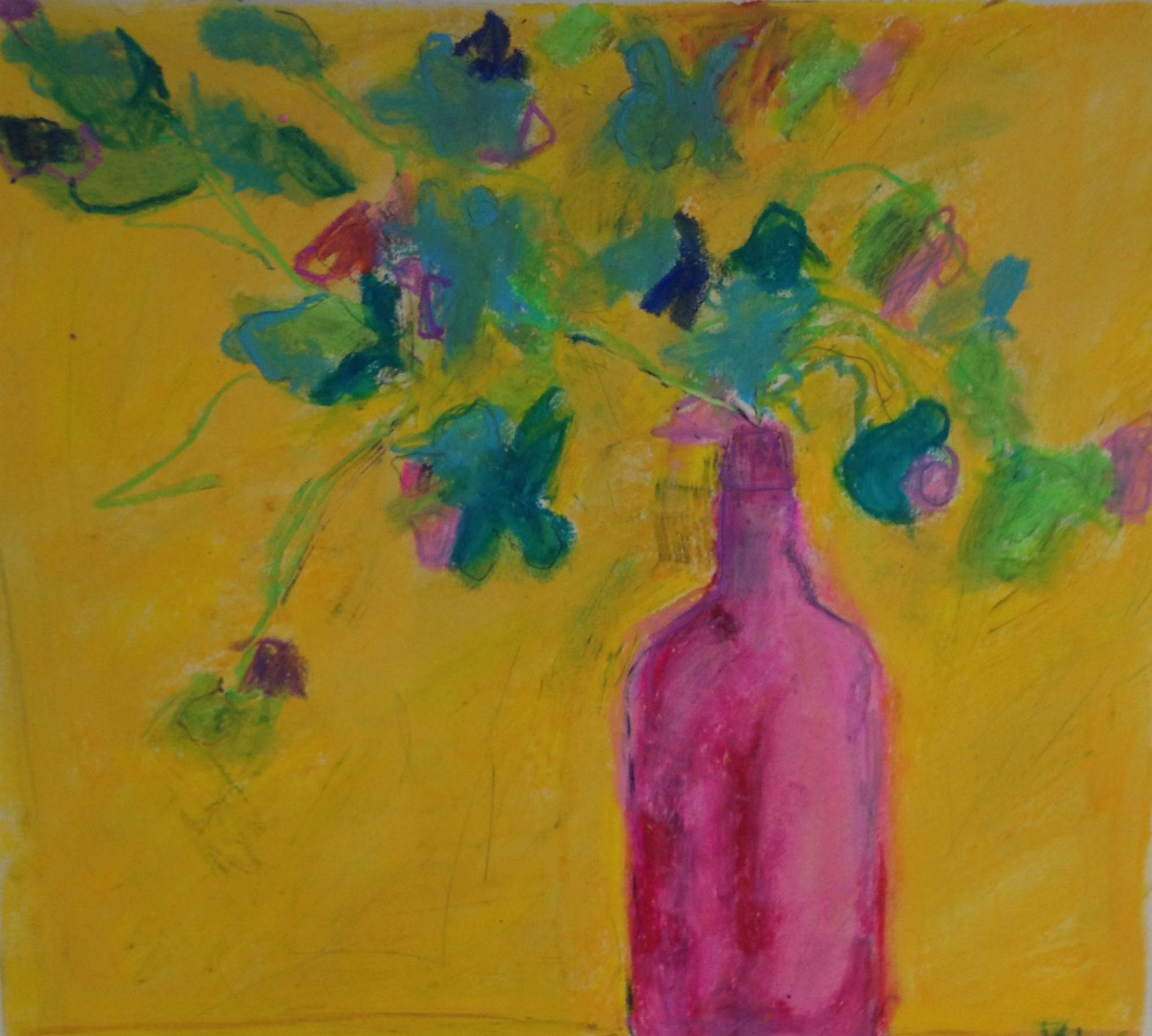 Favorite Pink Vase<br/>12x18 acrylic on paper