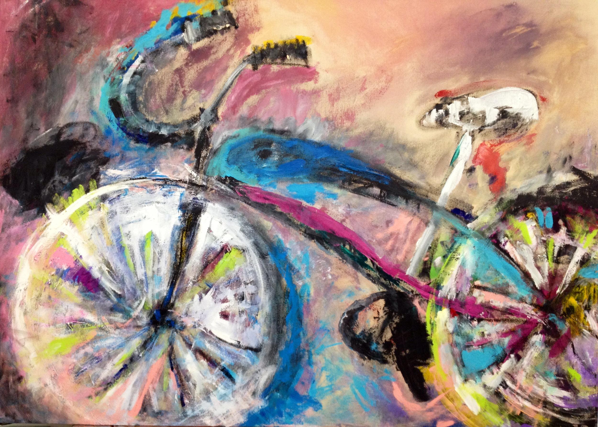 Bigger than Life Bike<br/>60x45 Acrylic on canvas