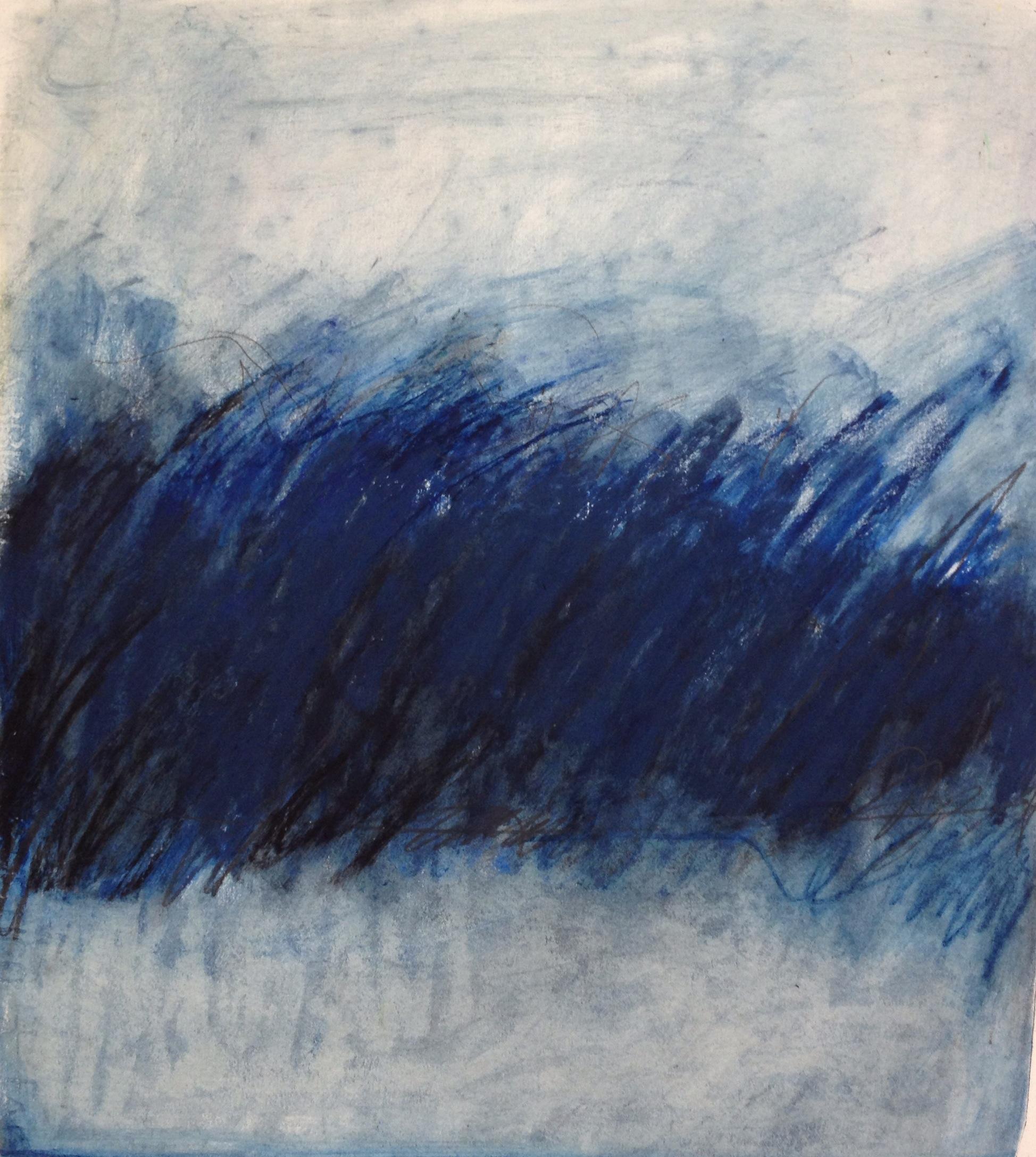Blue Indigo Field<br/>12x14 Mixed media on paper