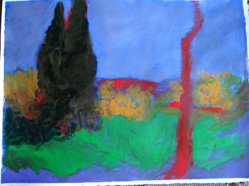 Evergreens<br/>44x30 acrylic on paper