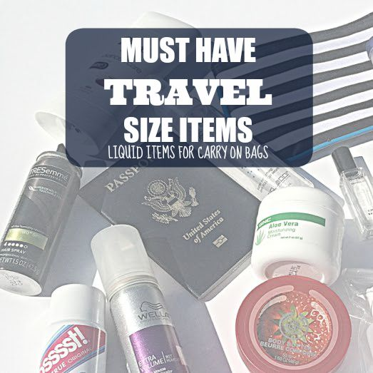 travel size items and toiletries