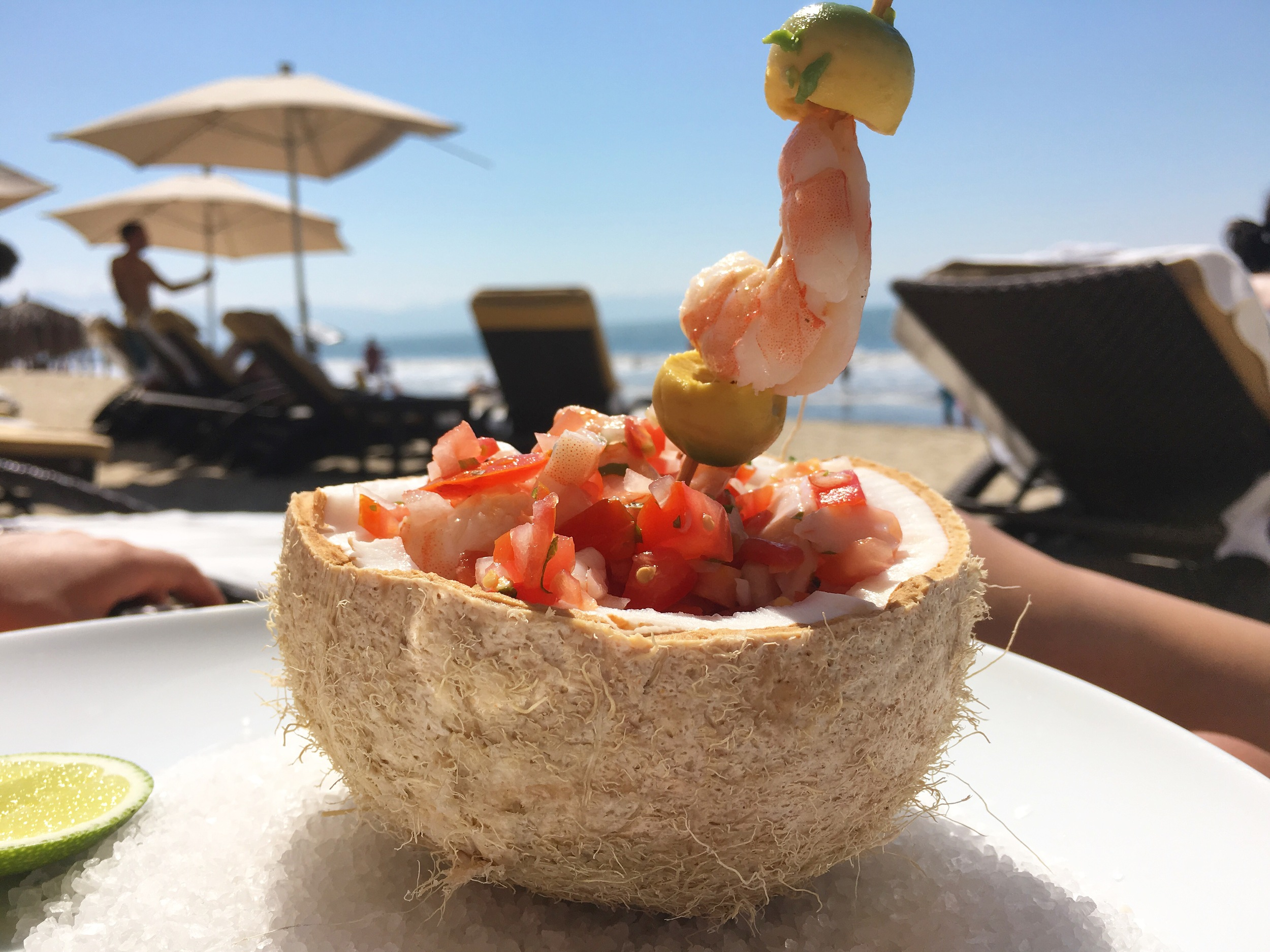 Shrimp Tomato Salad at the VIP Private Beach