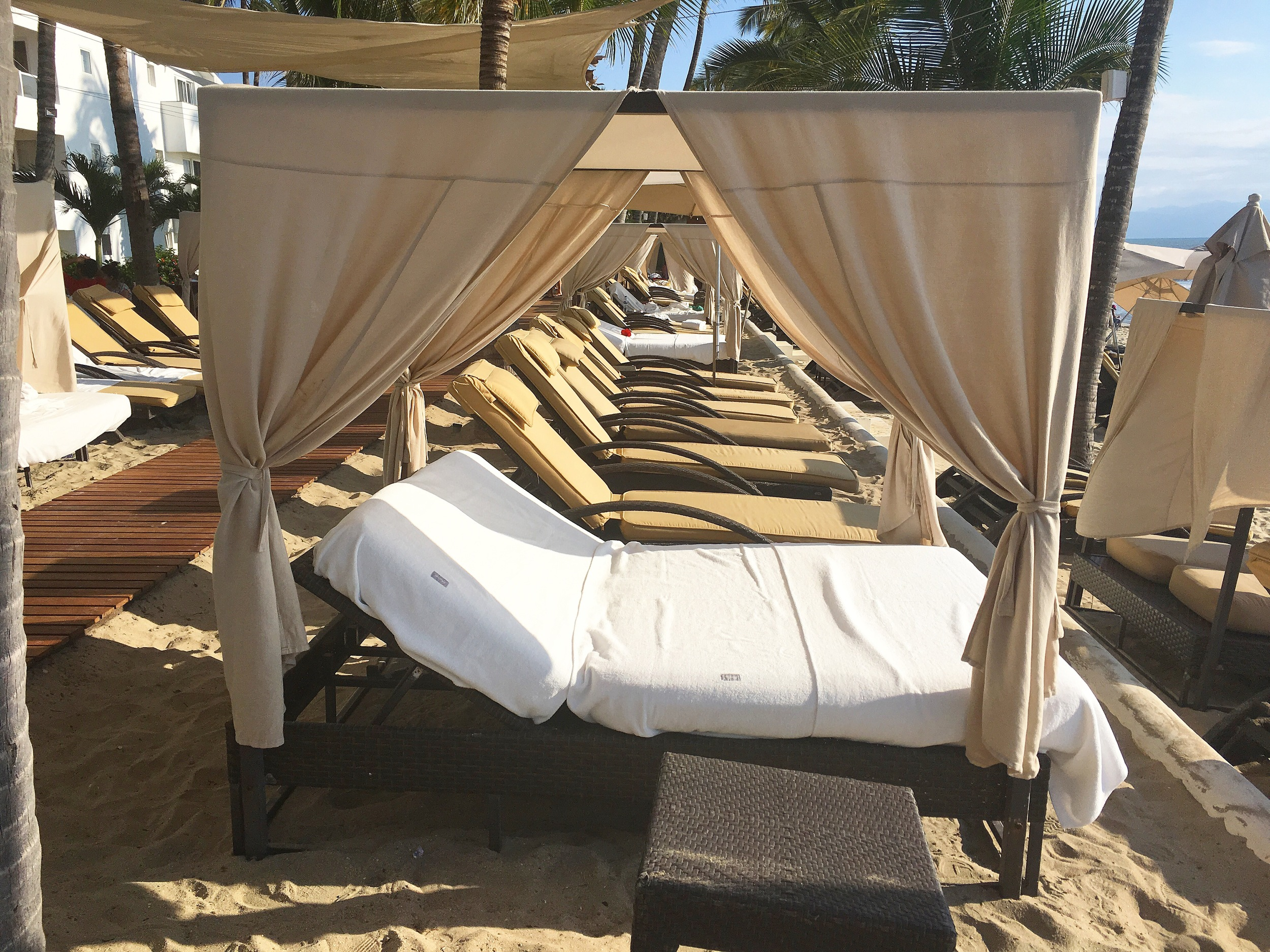 Cabanas at private beach