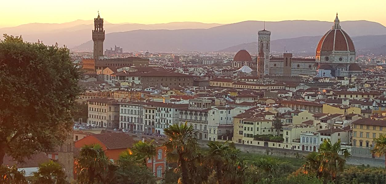 Watching the sunset in Florence at Piazza Michelangelo