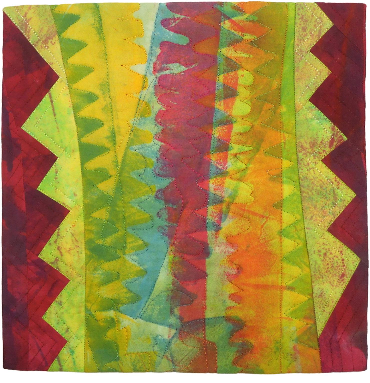 "Cross Cut, 12"" wide x 12"" high, 2014 SAQA Auction   donation"