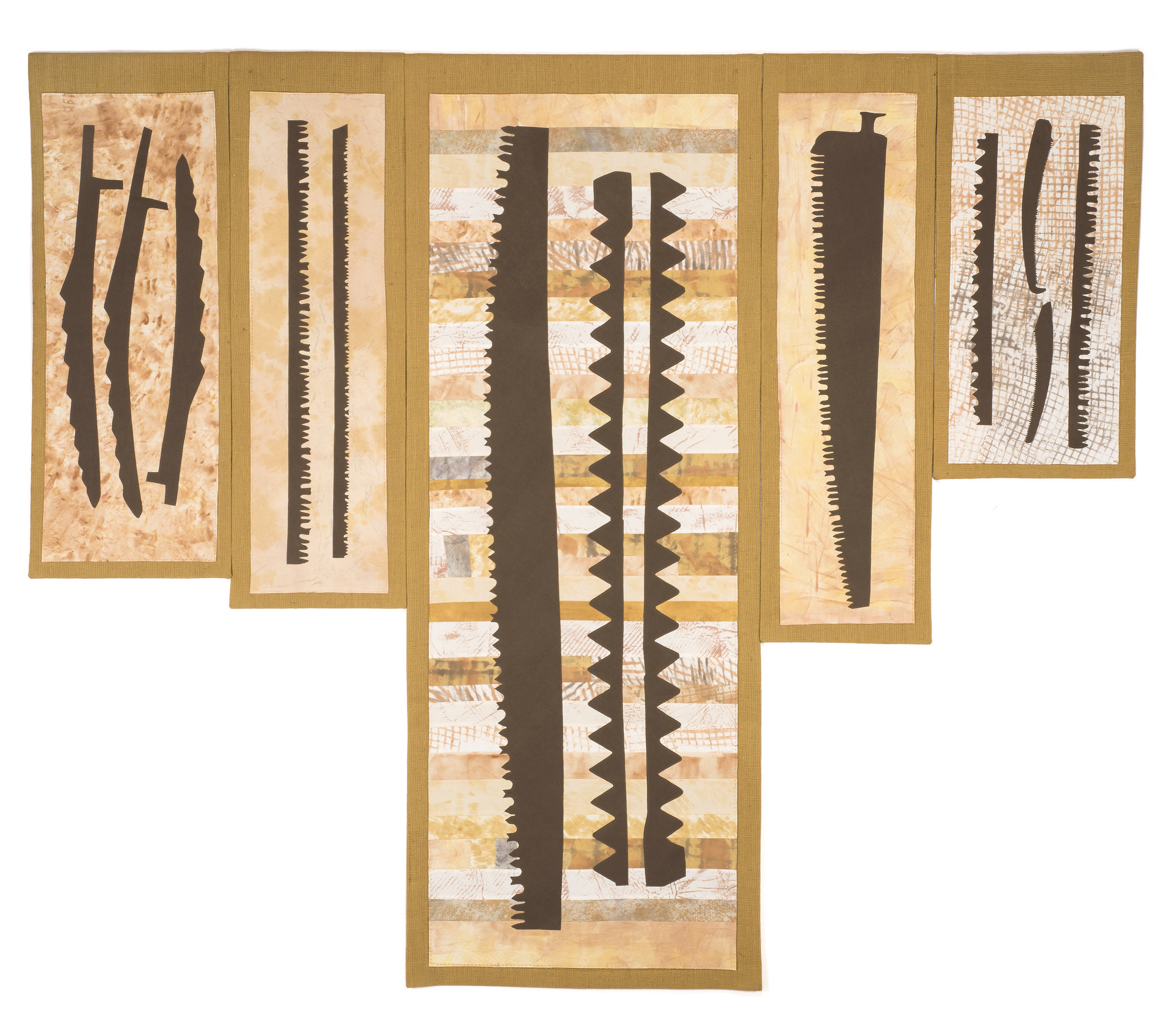 "Burlap and Blades #3, #2, #1, #5, #4, 98"" wide x 83.5"" high, 2019"