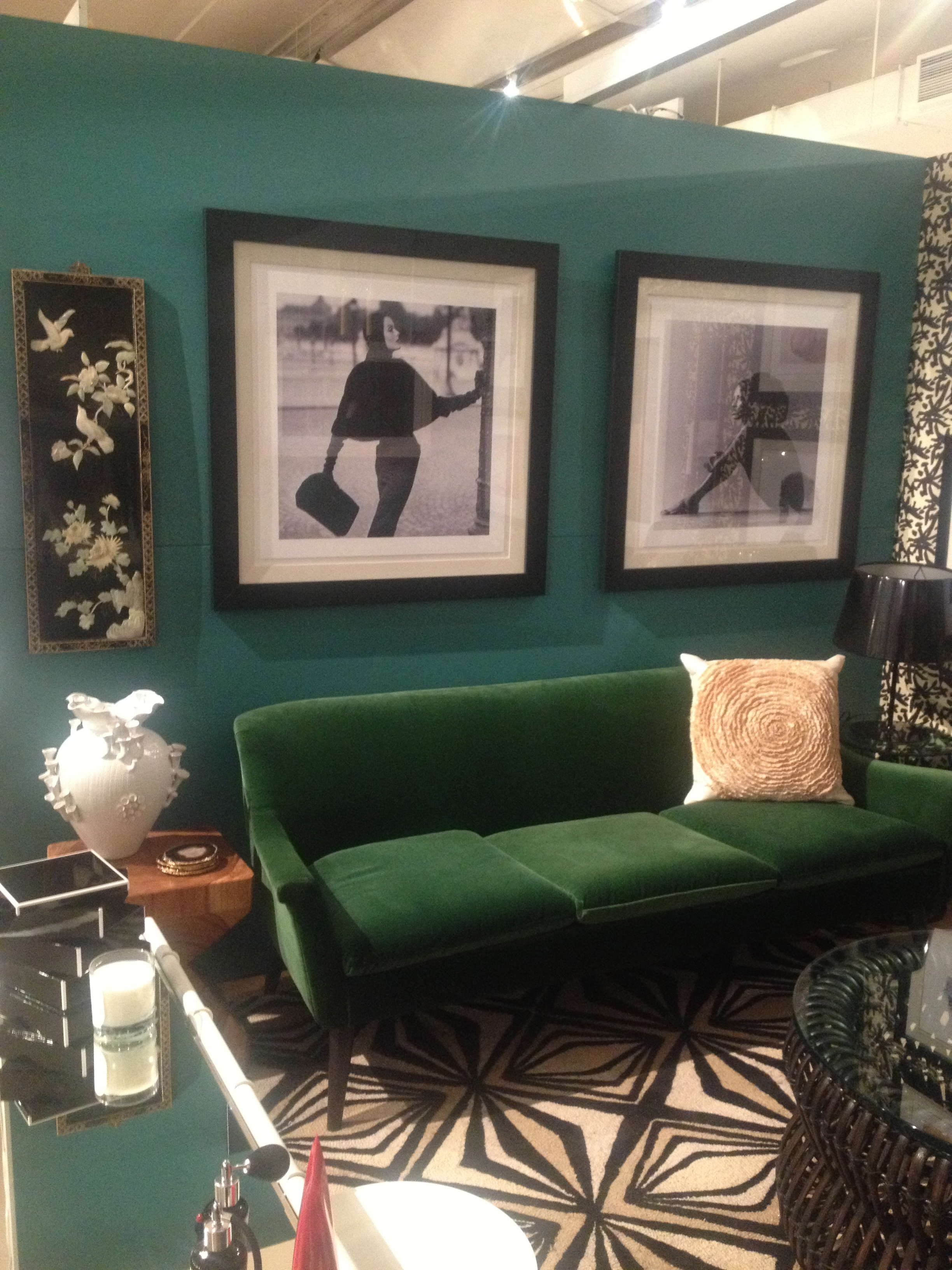 My Room & Board Sofa below Vogue prints and a chinese panel from my mother.