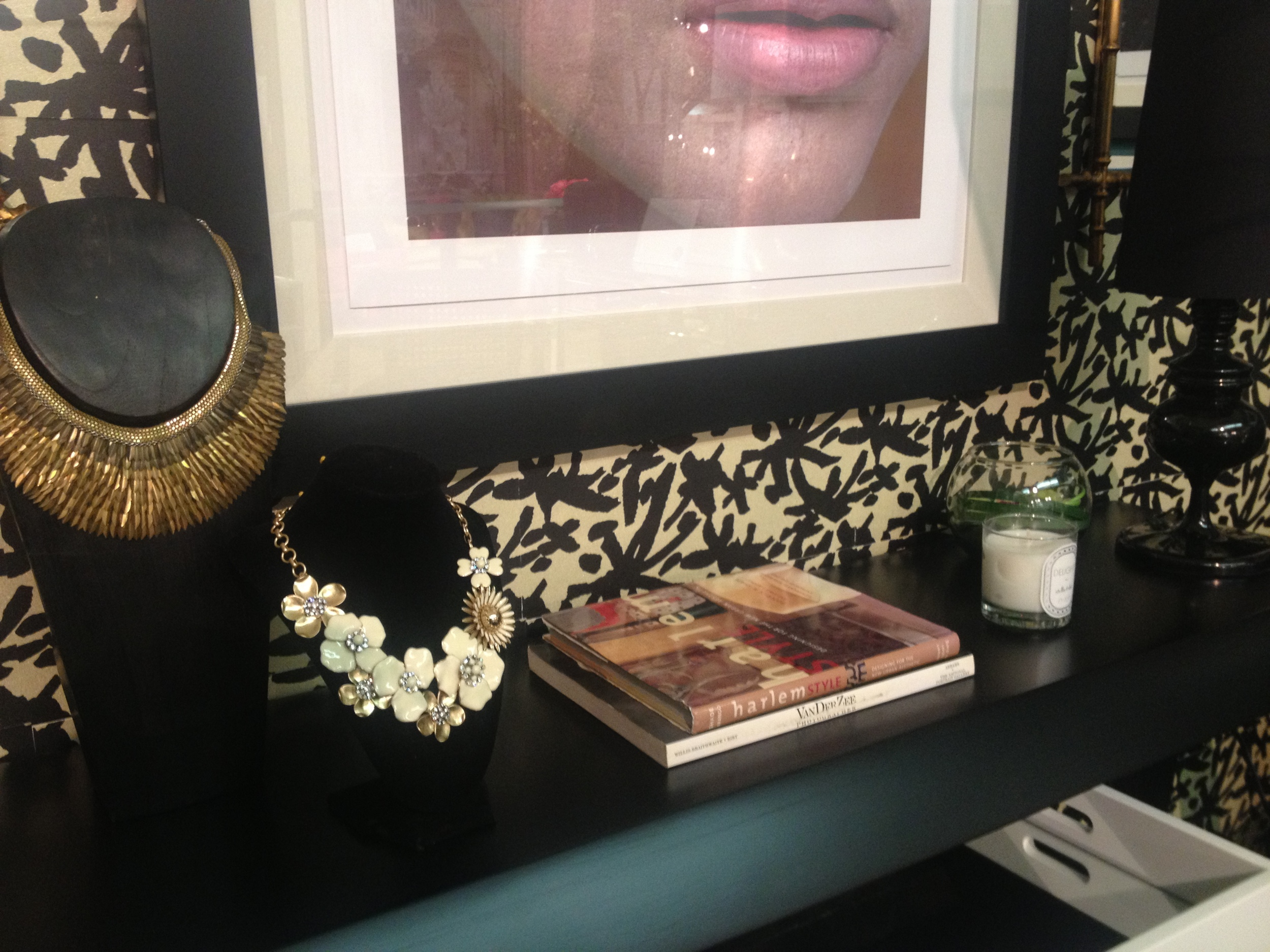 Stella & Dot jewelry vignette on a vintage console. And the Emerald eye Vogue print brought the color palette together.