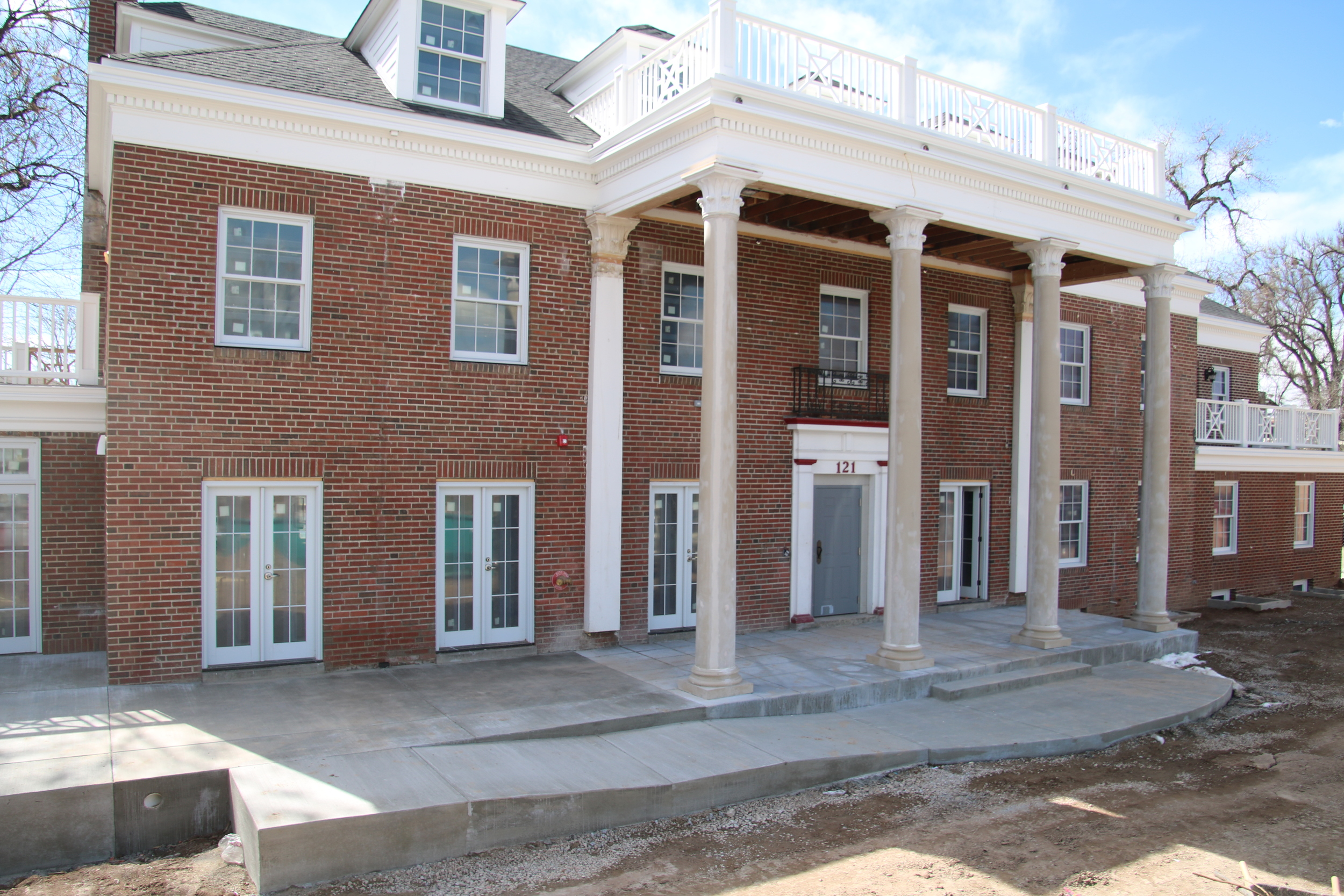New columns, portico, porch, and accessibility ramp