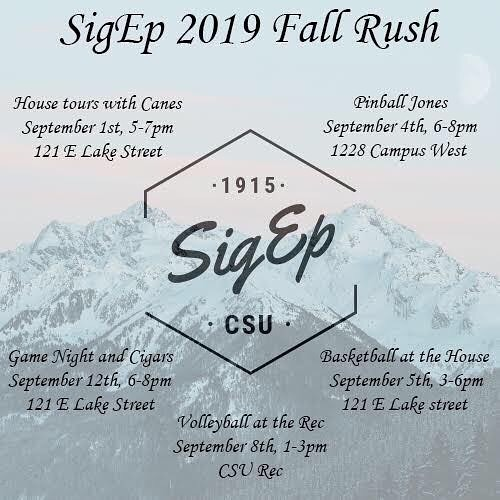 Sigma Phi Epsilon's Fall Rush Schedule! Contact VP of Recruitment, Mike Holliday, at (424)903-5162 for any questions.