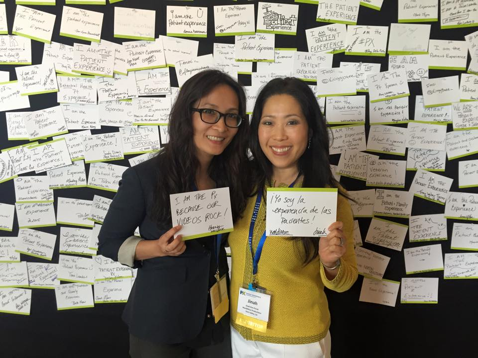 Here we are next to the wall of testimonies. I am the patient experience because our videos rock!
