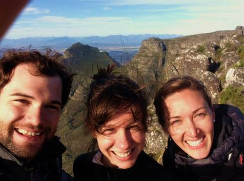 IDEV students  Gregor Schueler,  Lauren Fredric, and Brie Freeman who are spending the summer in South Africa, on the top of Table Mountain, Cape Town