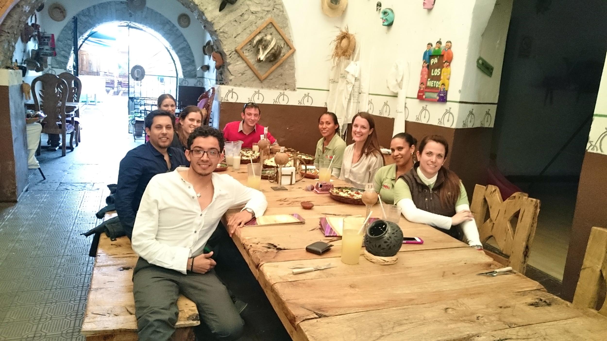 The FEMSA Foundation practicum team and our hosts in a restaurant in Queretaro, Mexico.