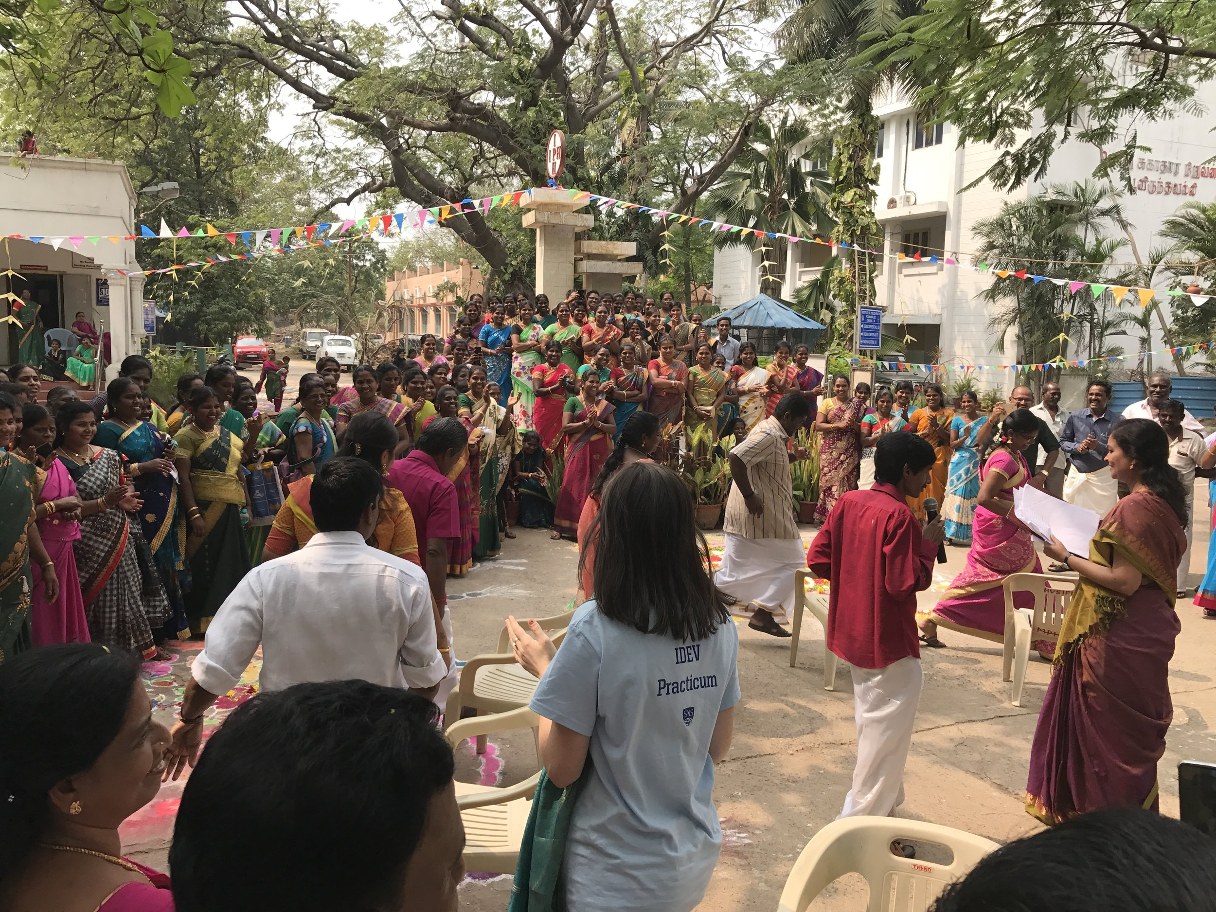 Practicum Team members joined in on the fun and games: playing musical chairs, learning dance moves, and eating the traditional meal of Chakkara Pongal, a delicious sweet rice dish cooked in milk with raisins and spices.