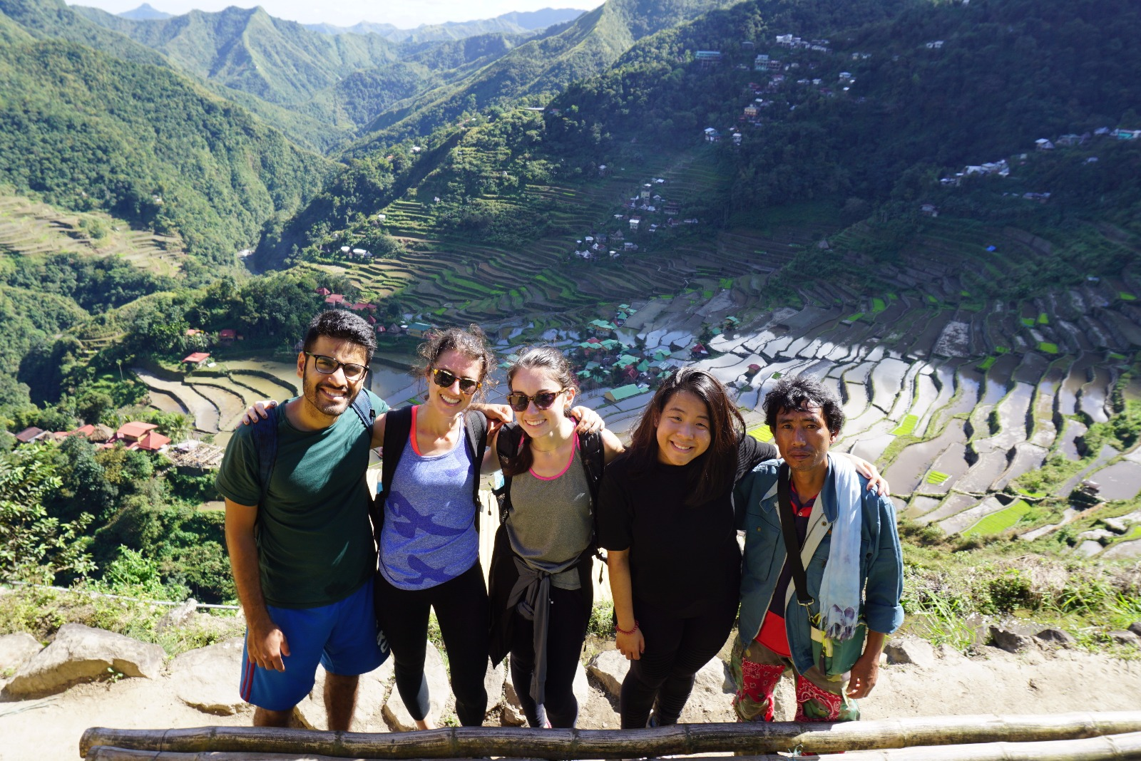 The team, with their guide Jimmy, in the rice terraces of Batad, Ifugao province