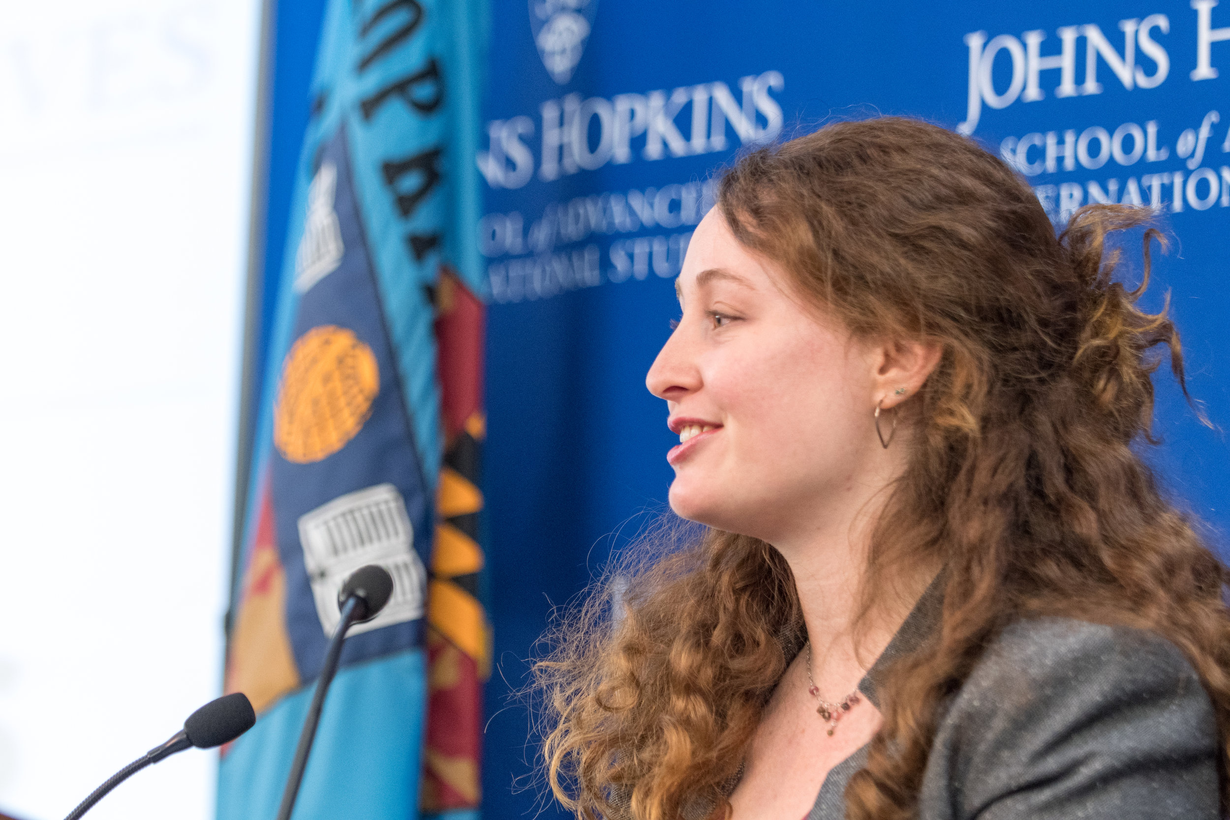 SAIS Perspectives  Editor-in-Chief Maya Gainer introduces the event and announces the theme of the 2018-19 issue
