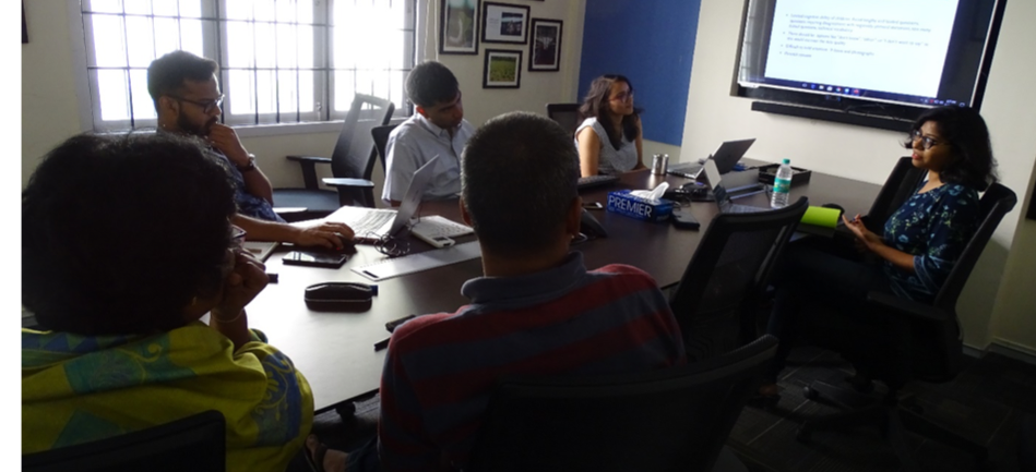 Adyasha leads a webinar-style knowledge transfer session for the Athena Infonomics team on schoolchildren's mobility in urban India.