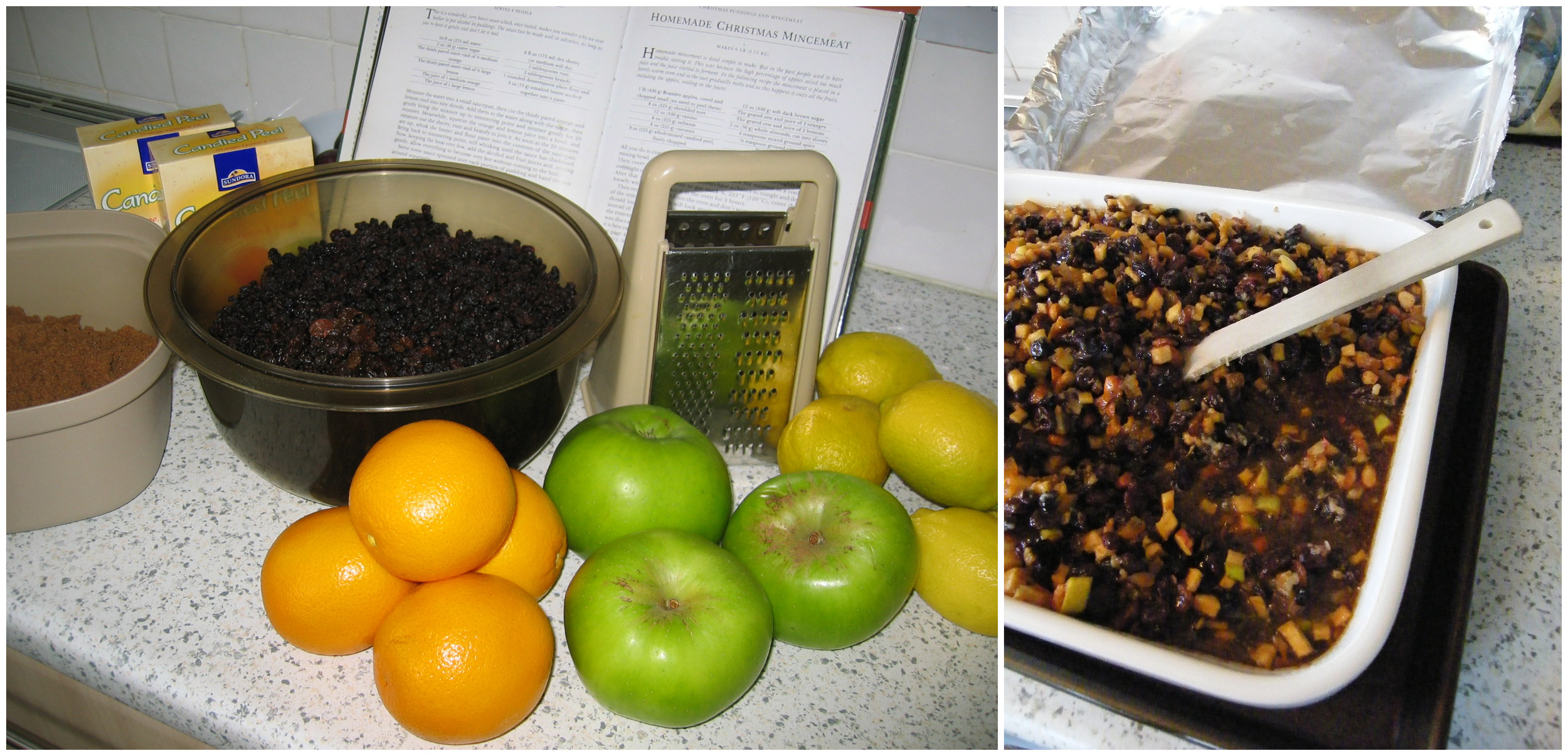Mincemeat: Too many ingredients to fit in the first pic... all there, encased in suet, on the right!