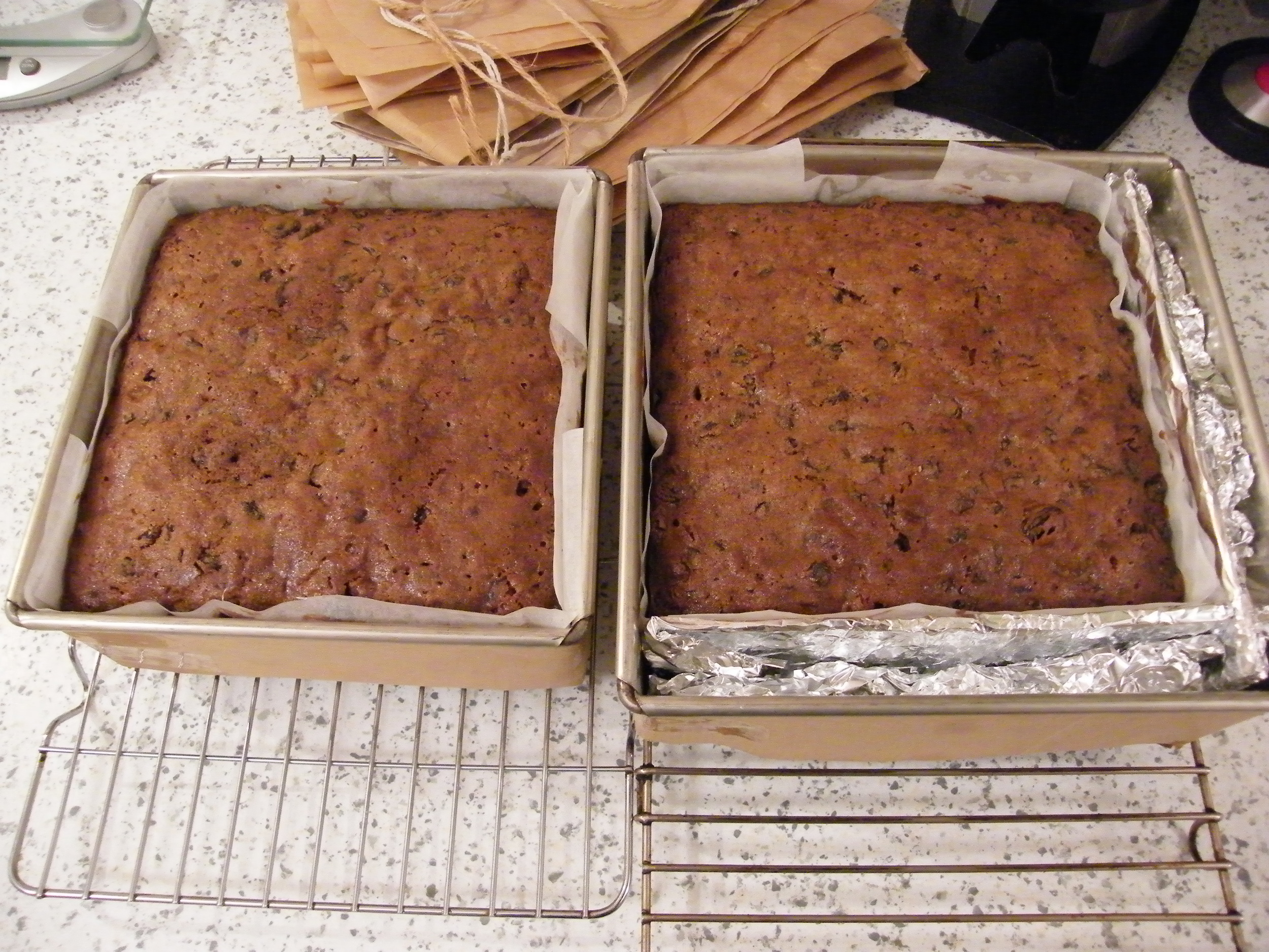 Only one 7 inch square cake tin? No problem if you have thick card and a roll of baking foil!