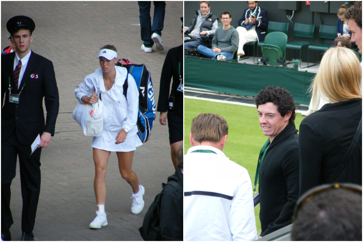 16:54 - Caroline Wozniacki looks purposeful as she approaches court... Rory McIlroy waits to watch.