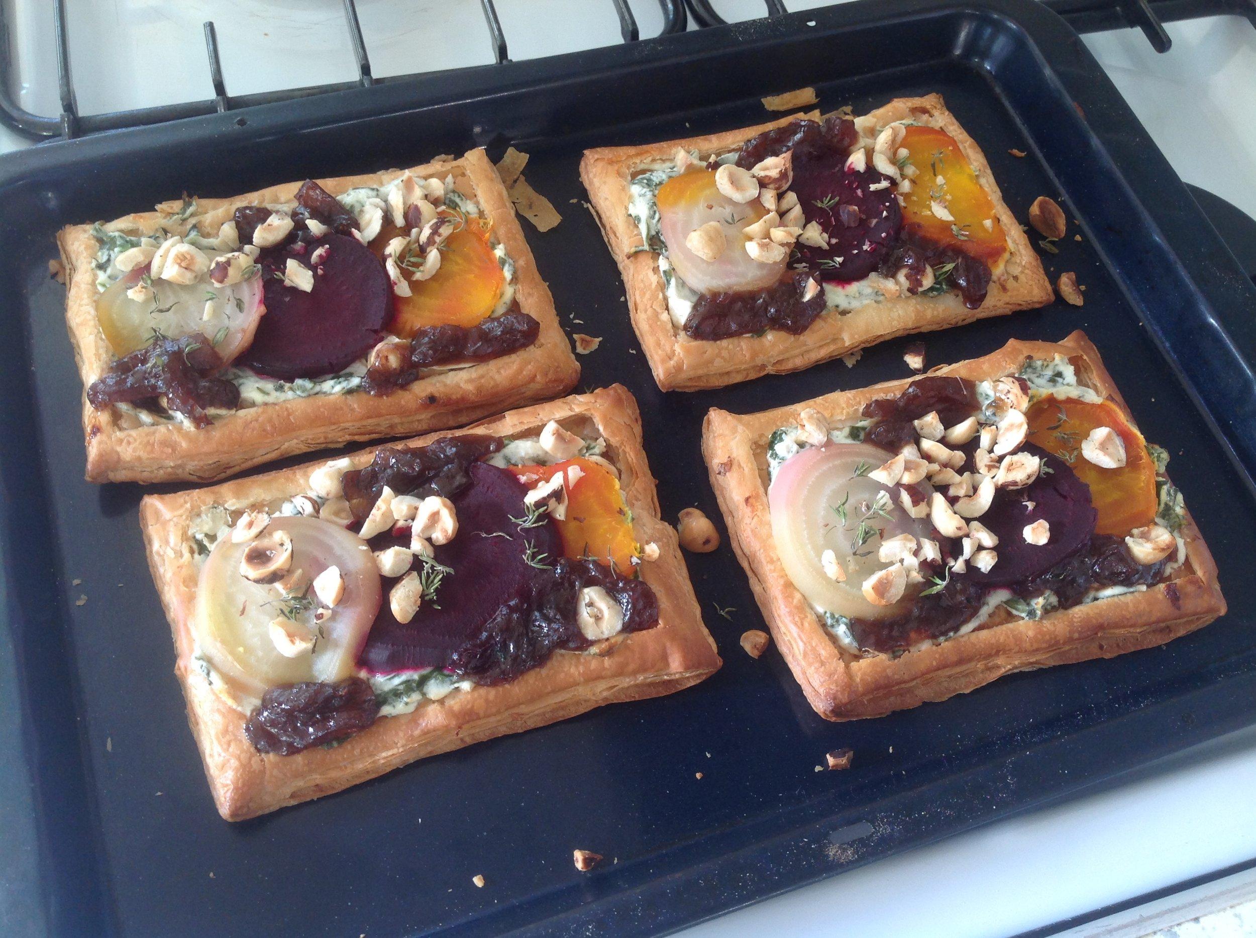 Starter  Beetroot, Red Onion, Goat Cheese & Hazelnut Tart