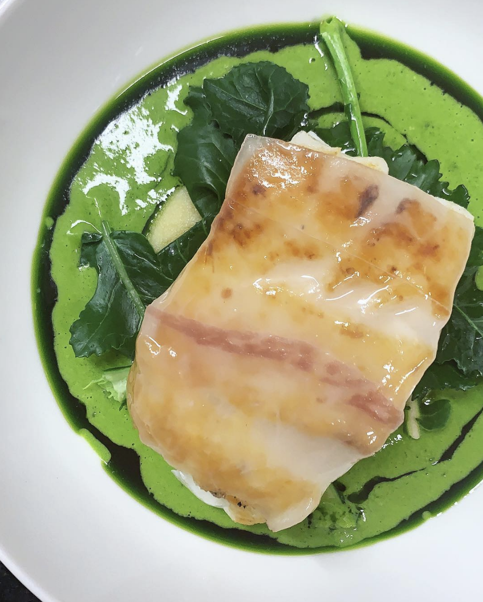 Pan fried cod loin, lardo, brown butter pomme puree, parsley sauce