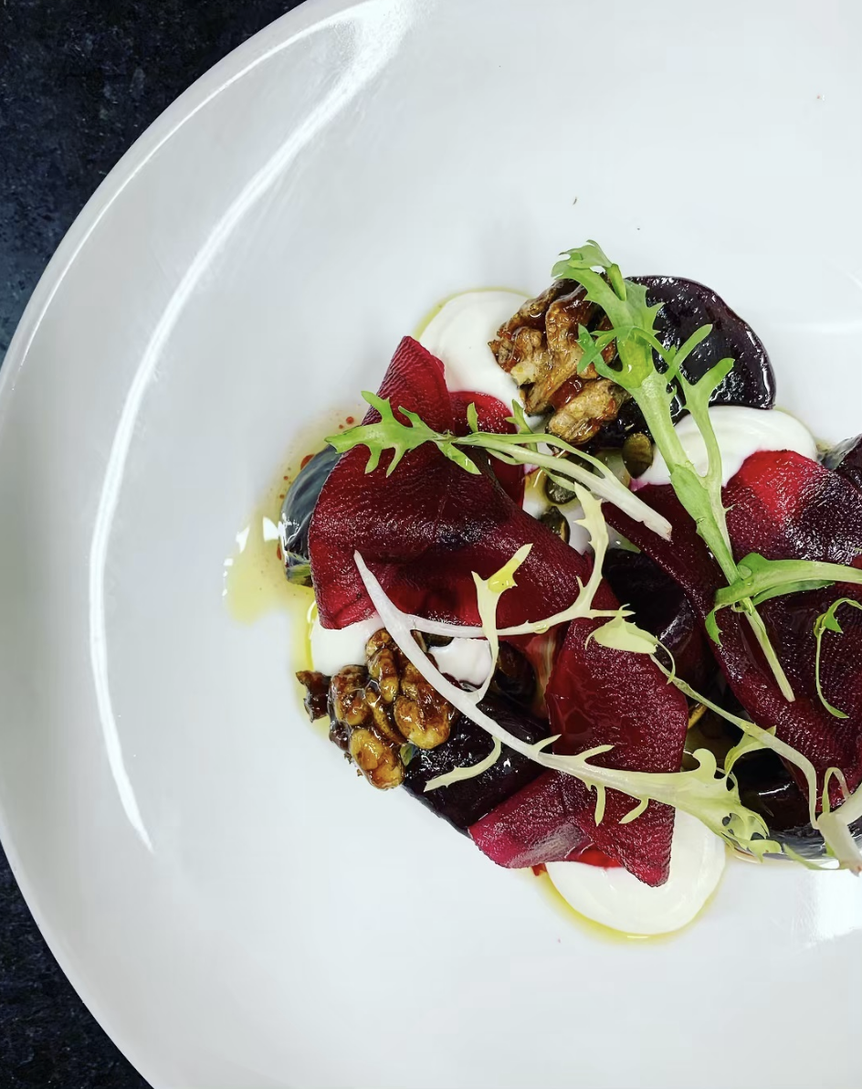 Roast beetroot salad, sticky walnuts, spiced pumpkin seeds, ricotta