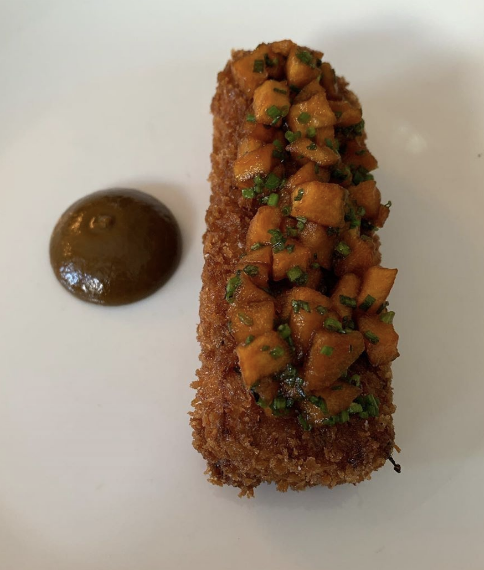 Crispy pigs head terrine, caramelised apple, barbecue sauce