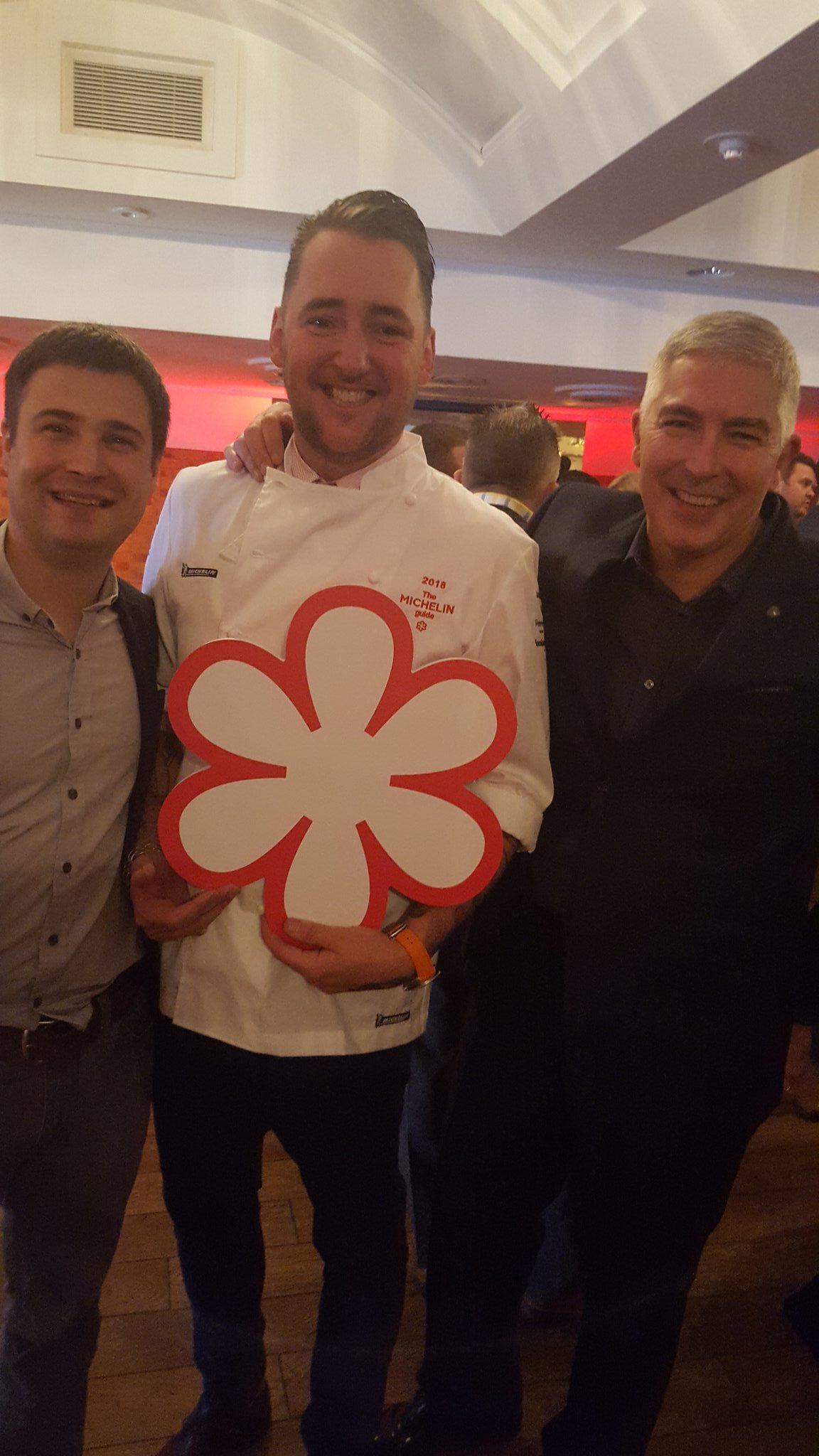 George Blogg (left) supporting Matt Worswick as he accepts a Michelin star for the Latymer Restaurant team. David Everitt-Matthias looks on with huge admiration and totally justified pride. A favourite picture.