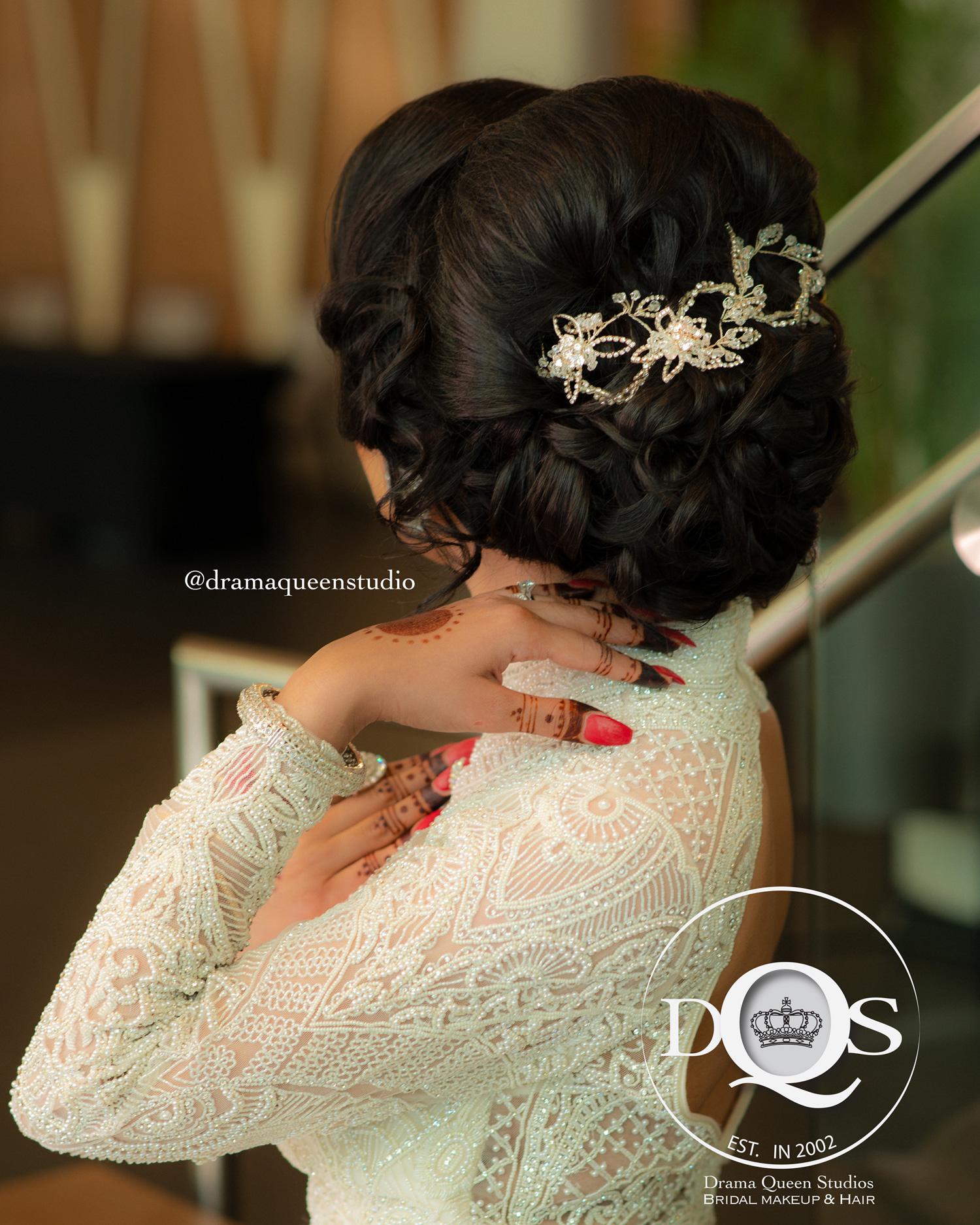 Komal's hair for Reception.  Makeup, Hair, & Dressing Drama Queen Studios: Master Artists Kiran Purewal, Assited By Kelly K