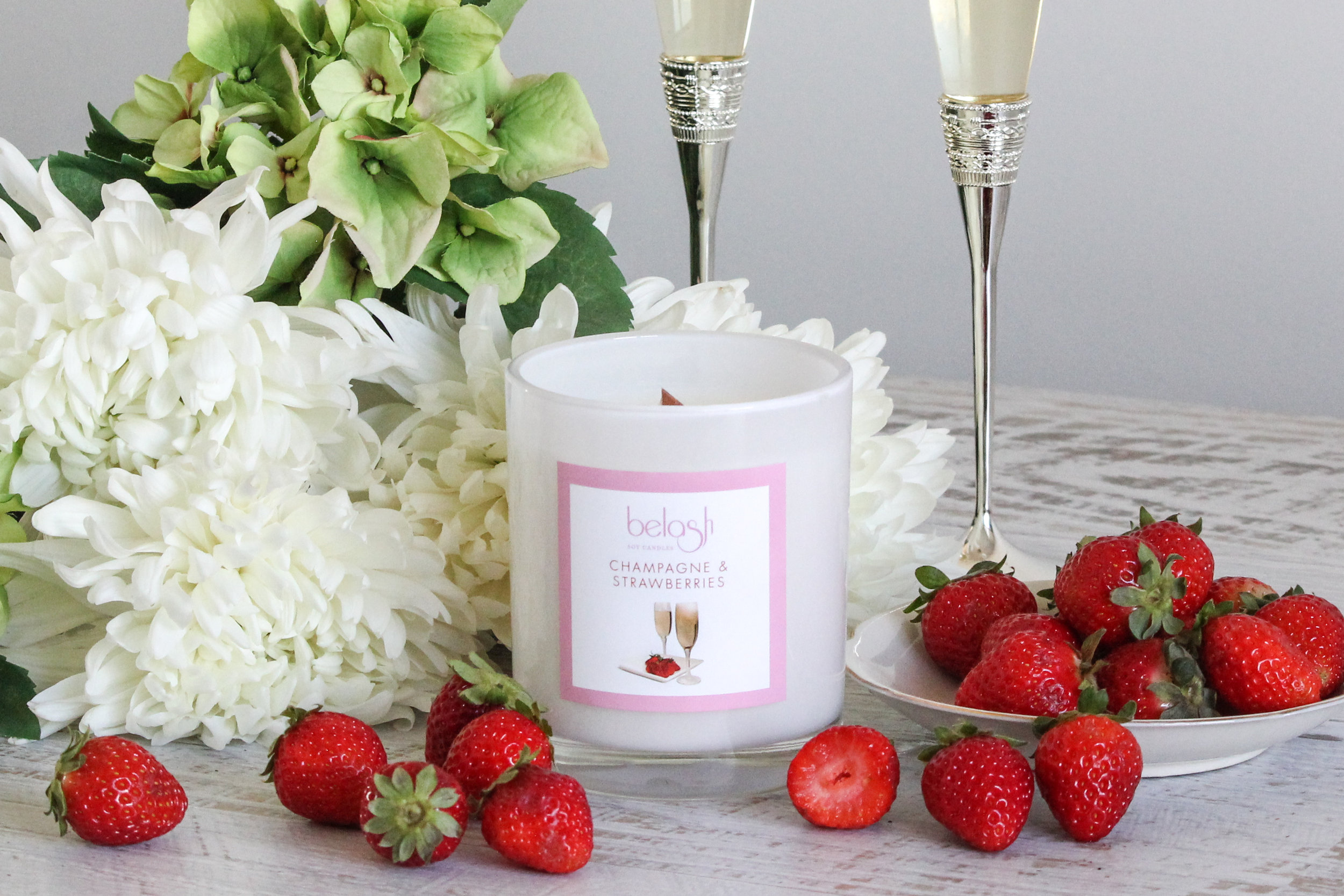 Champagne and Strawberries Range   This range we hold close to our heart.... Not only does it have the beautiful fragrance of Champagne and Strawberries but we also donate 5% of all sales to National Breast Cancer Research