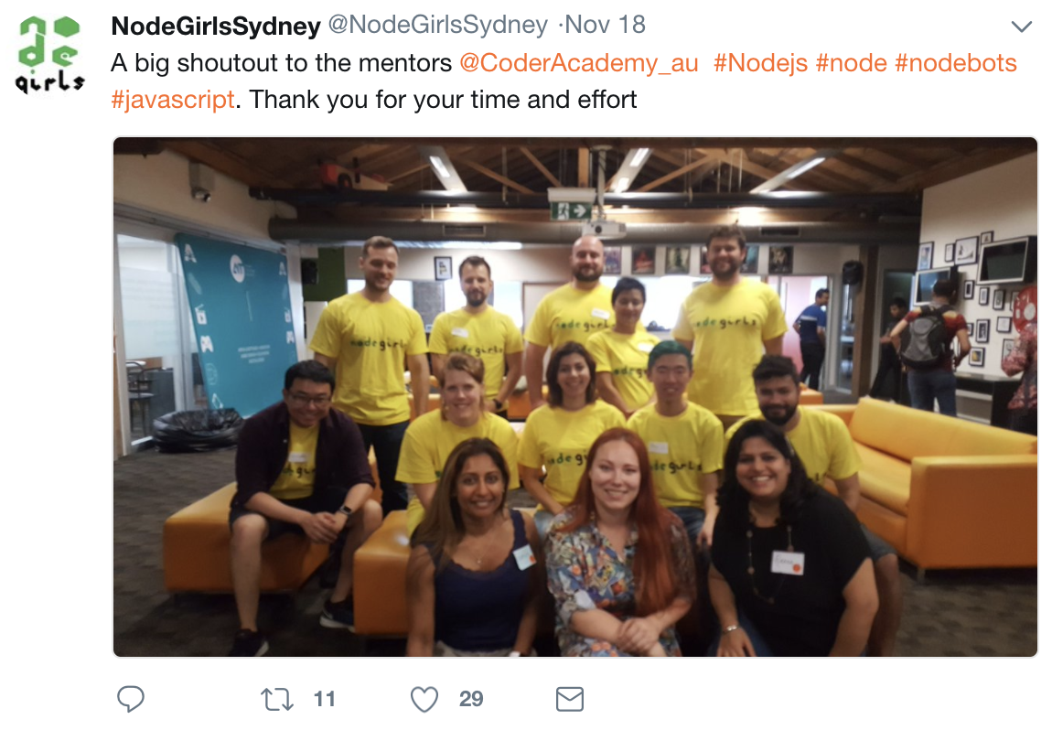 Node Girls Sydney Twitter