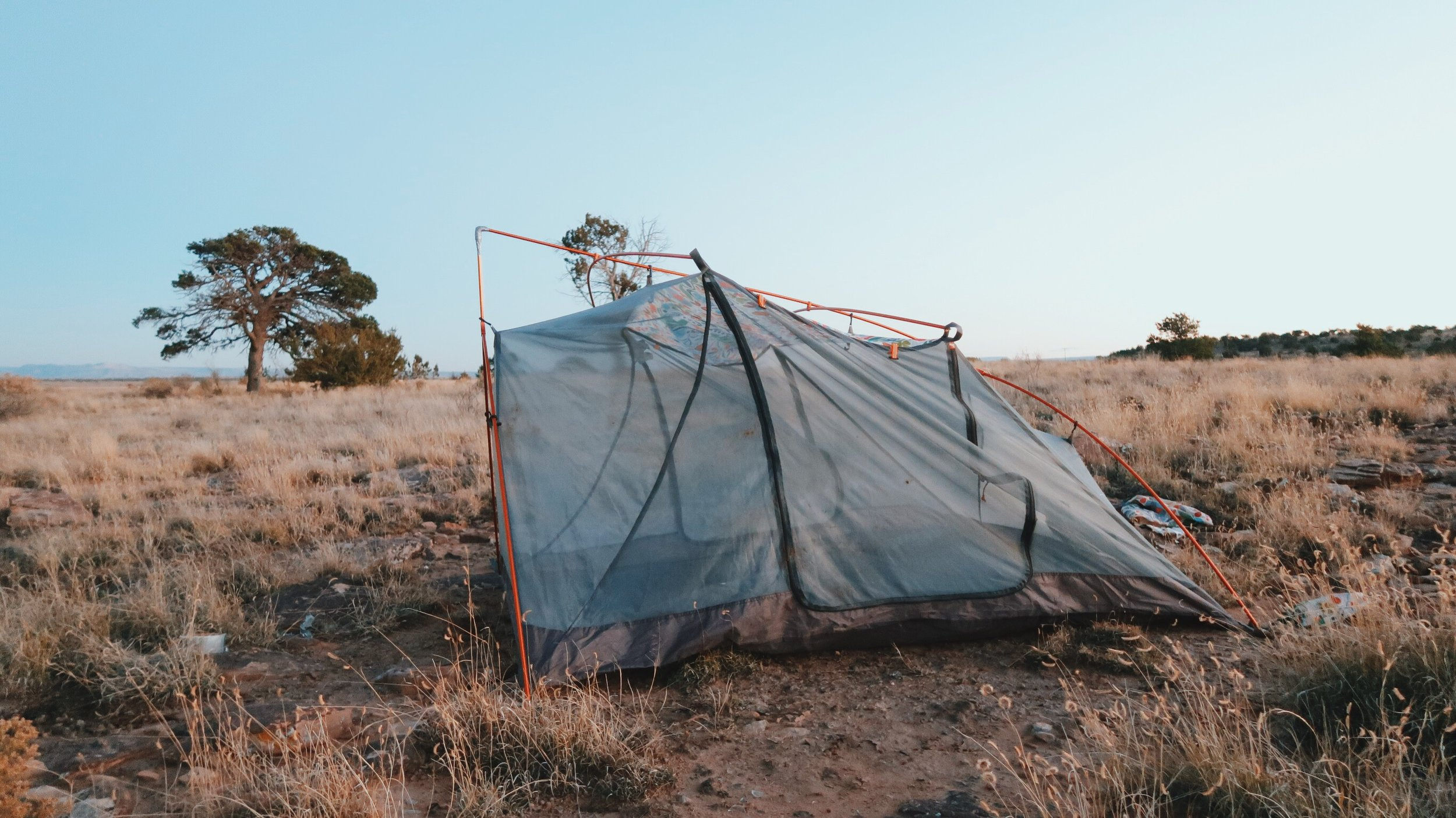 Before the collapse. I set up camp on a mound just to the right of Route 66 just outside of Prewitt, New Mexico.