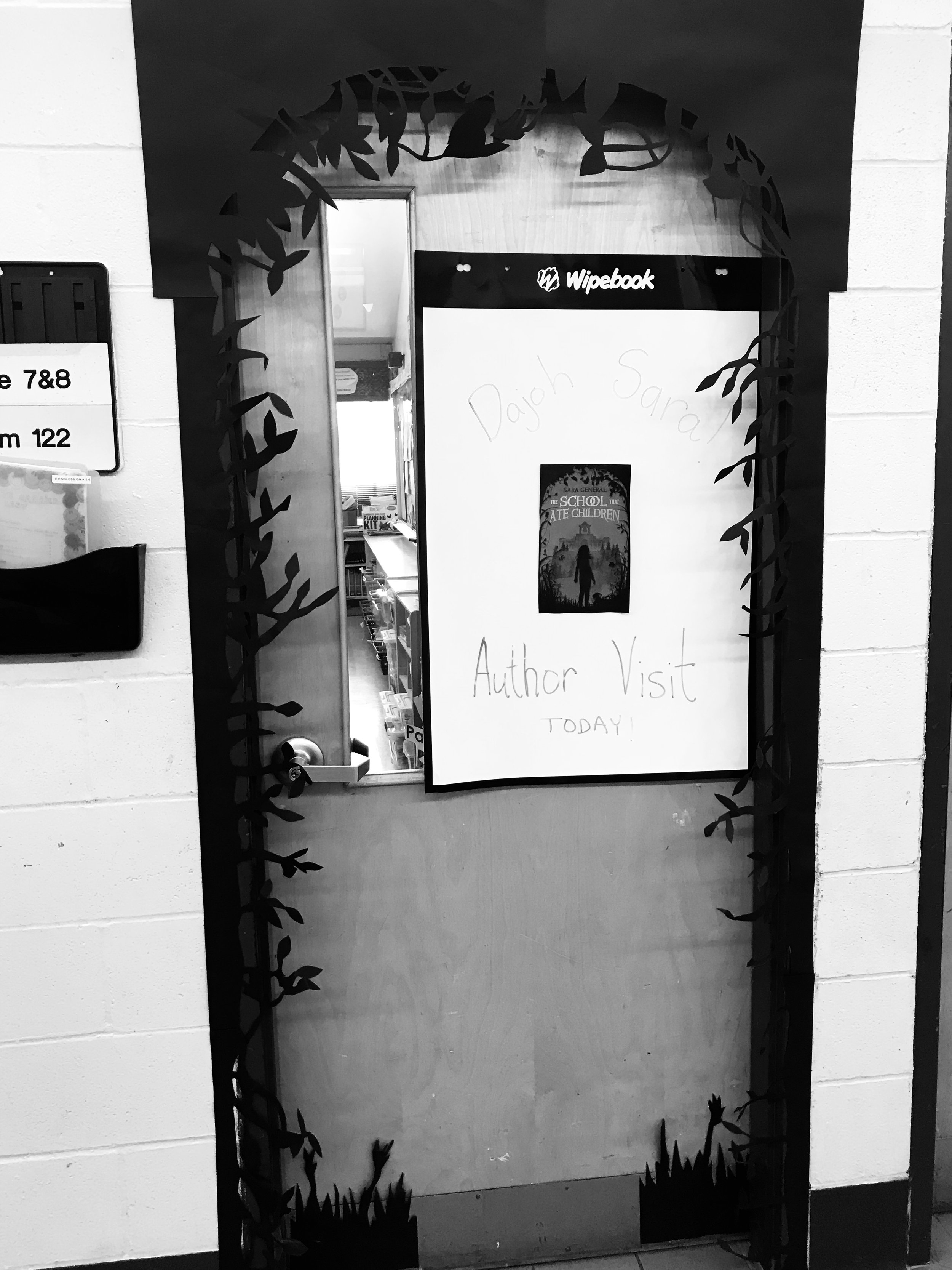 The students decorated the door like the cover of the book!