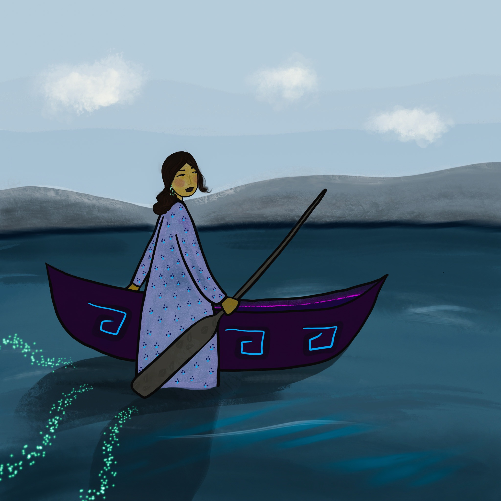 A Woman and Her Canoe by Sara General