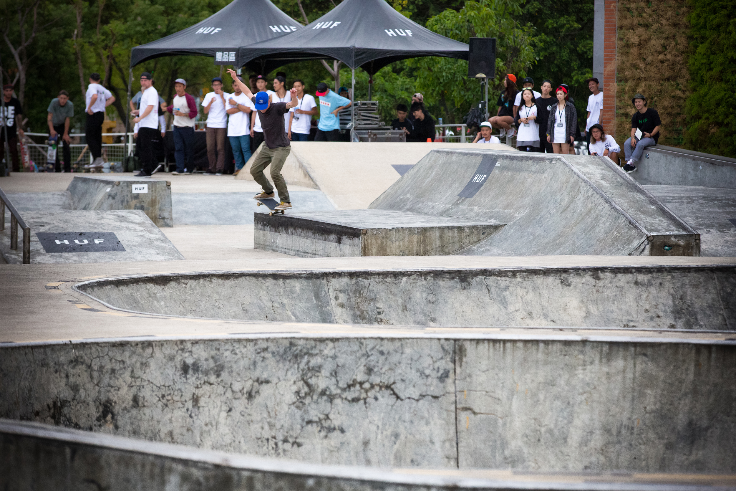 HUF team member Brad Cromer sampling some of the facilities at the Hsin-Shih skatepark.