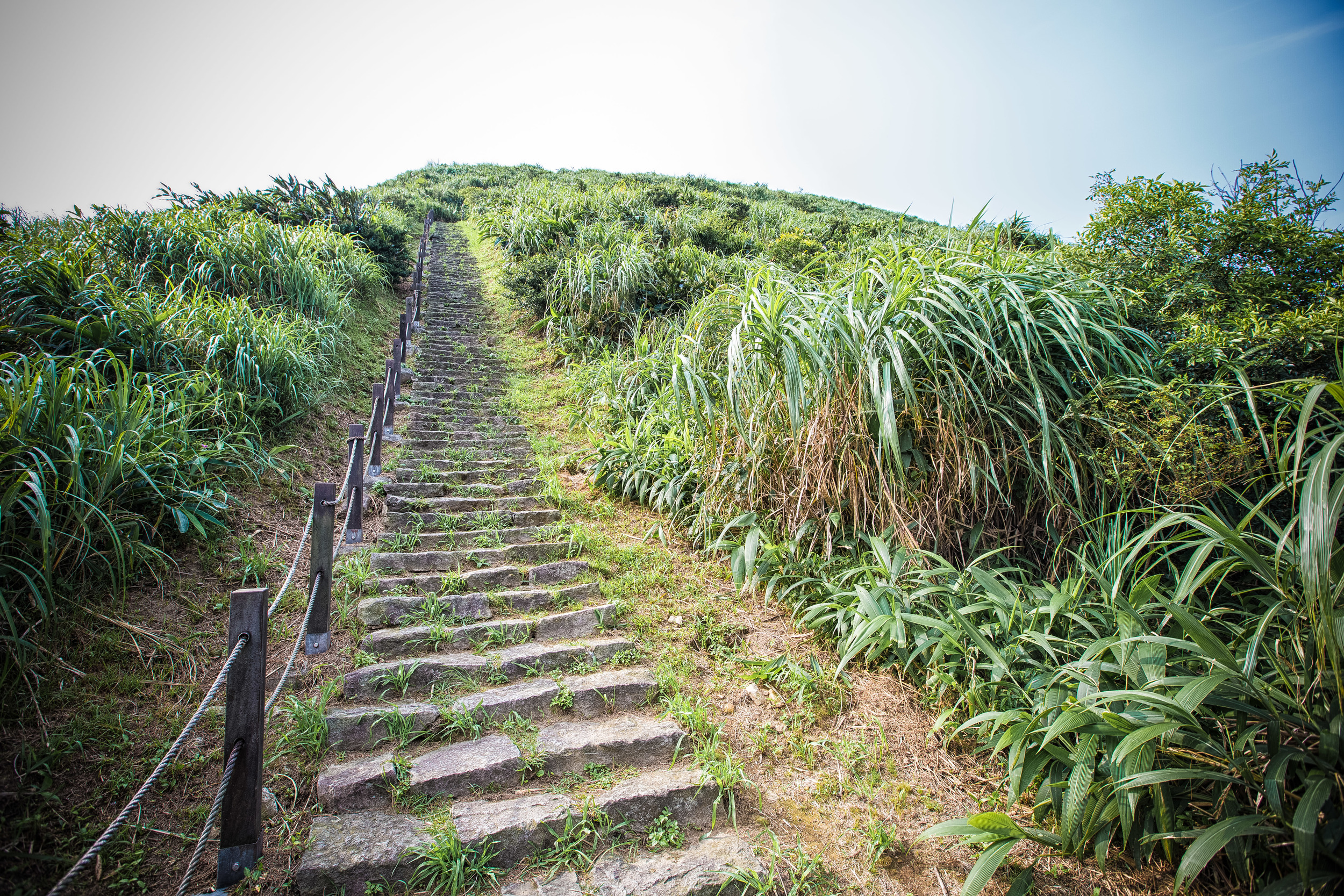 The well maintained hiking path to the peak of Jilong Mountain (雞籠山)