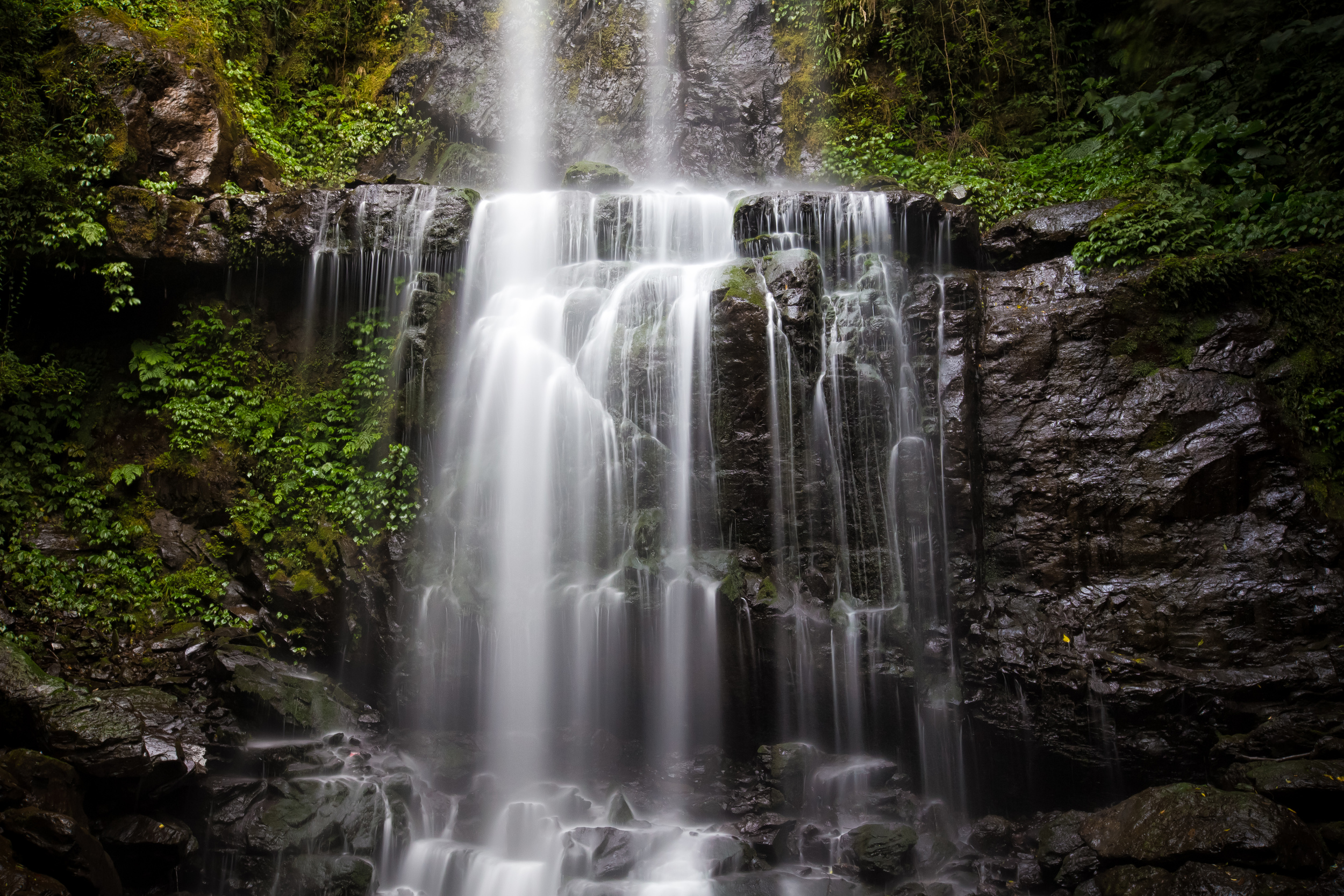 - A close up long exposure of the waterfall