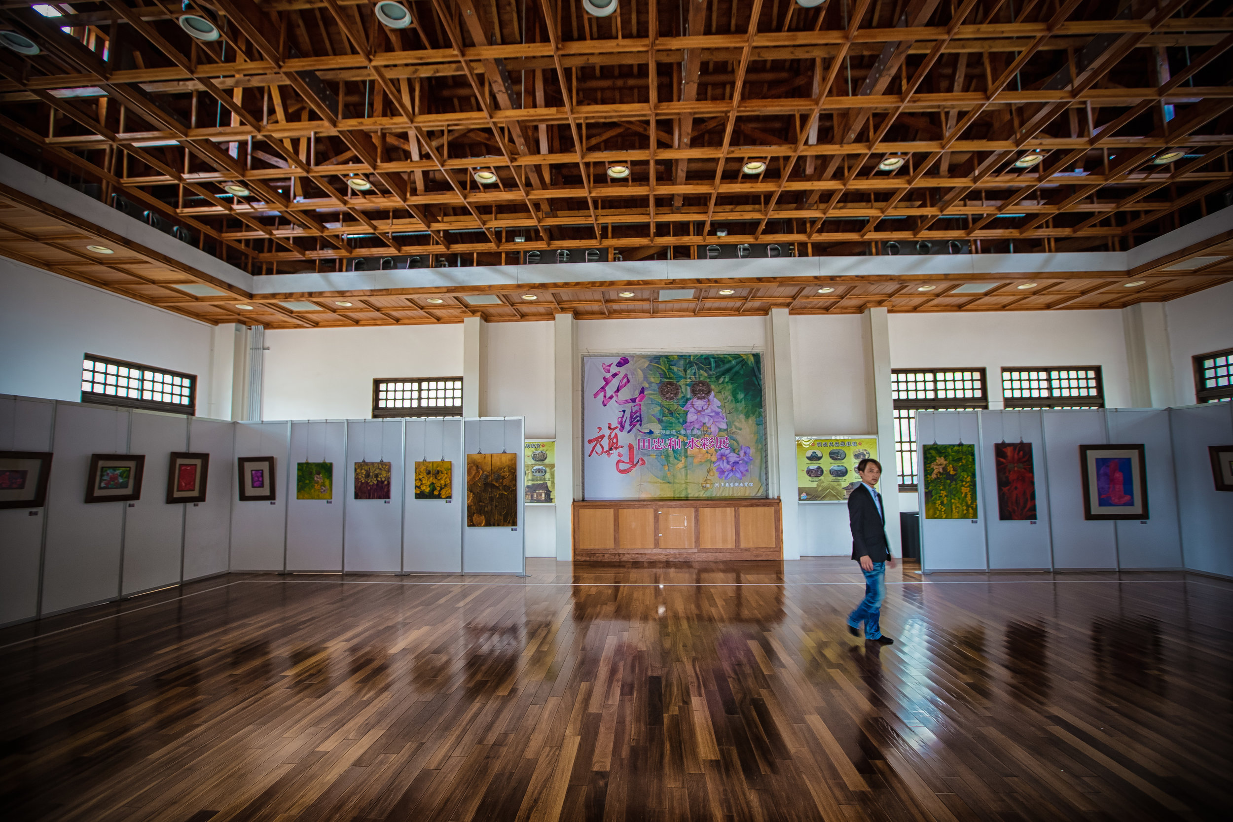 The Interior of the Martial Arts Hall with a local Art exhibition taking place.