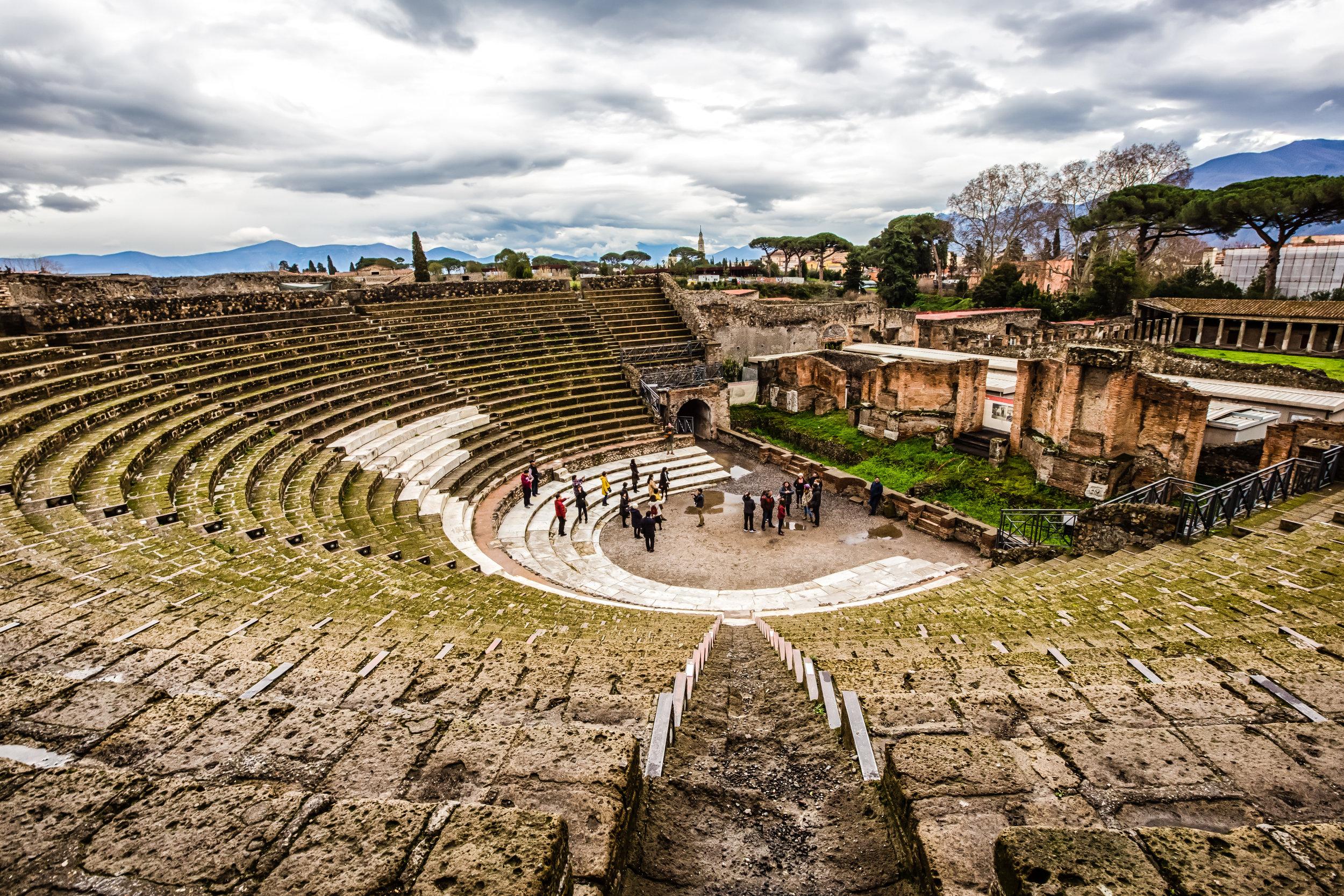 Tourists in Pompeii's Theatre