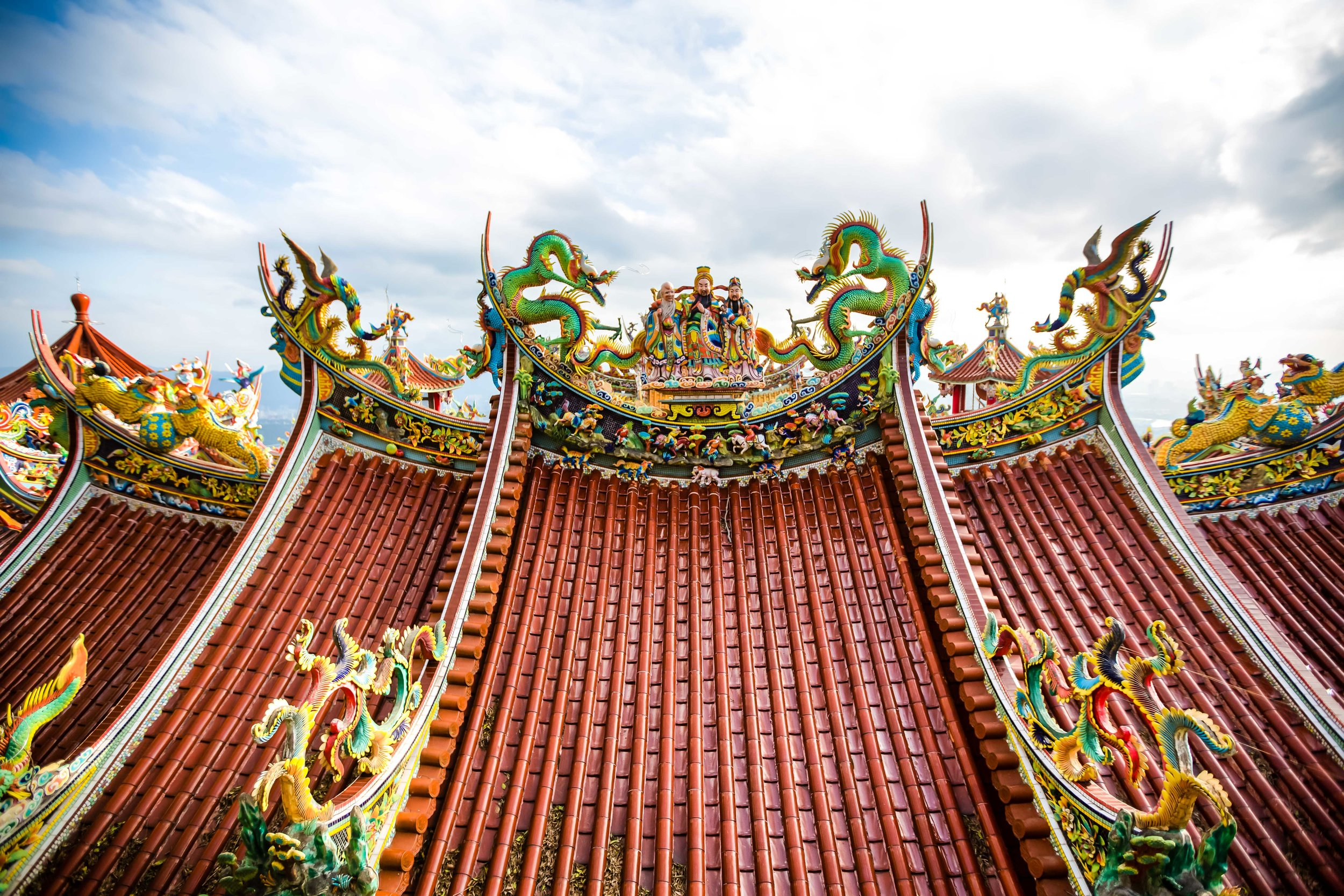 The temple roof from the mountain above.