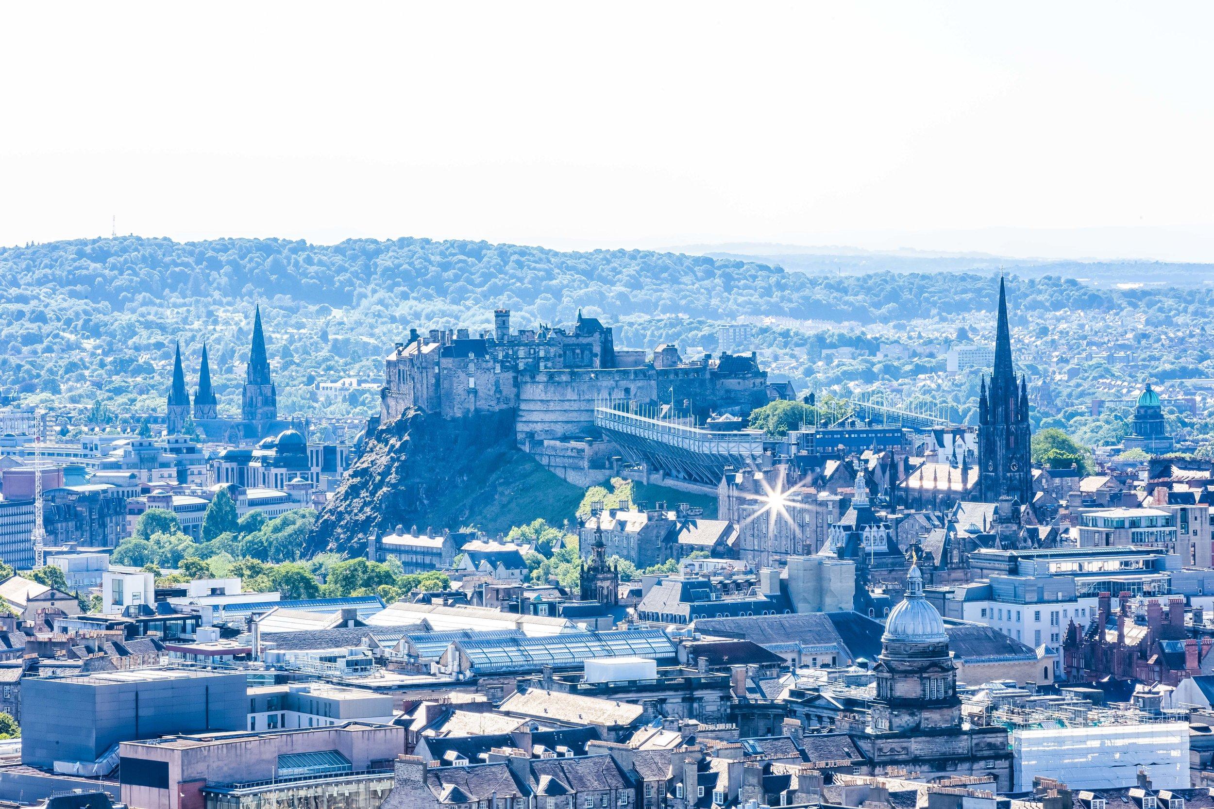 Edinburgh Castle sitting atop Castle Rock.