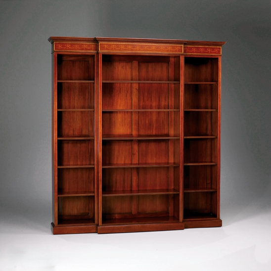 33073/J      Breakfront Inlay Bookcase 3 Section