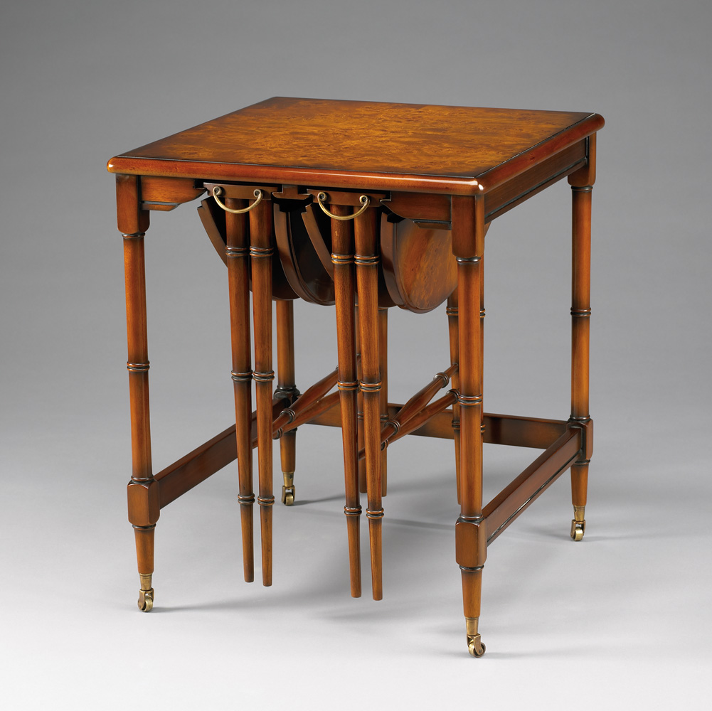 33219/J   Burl Top Nesting Table,set of 3