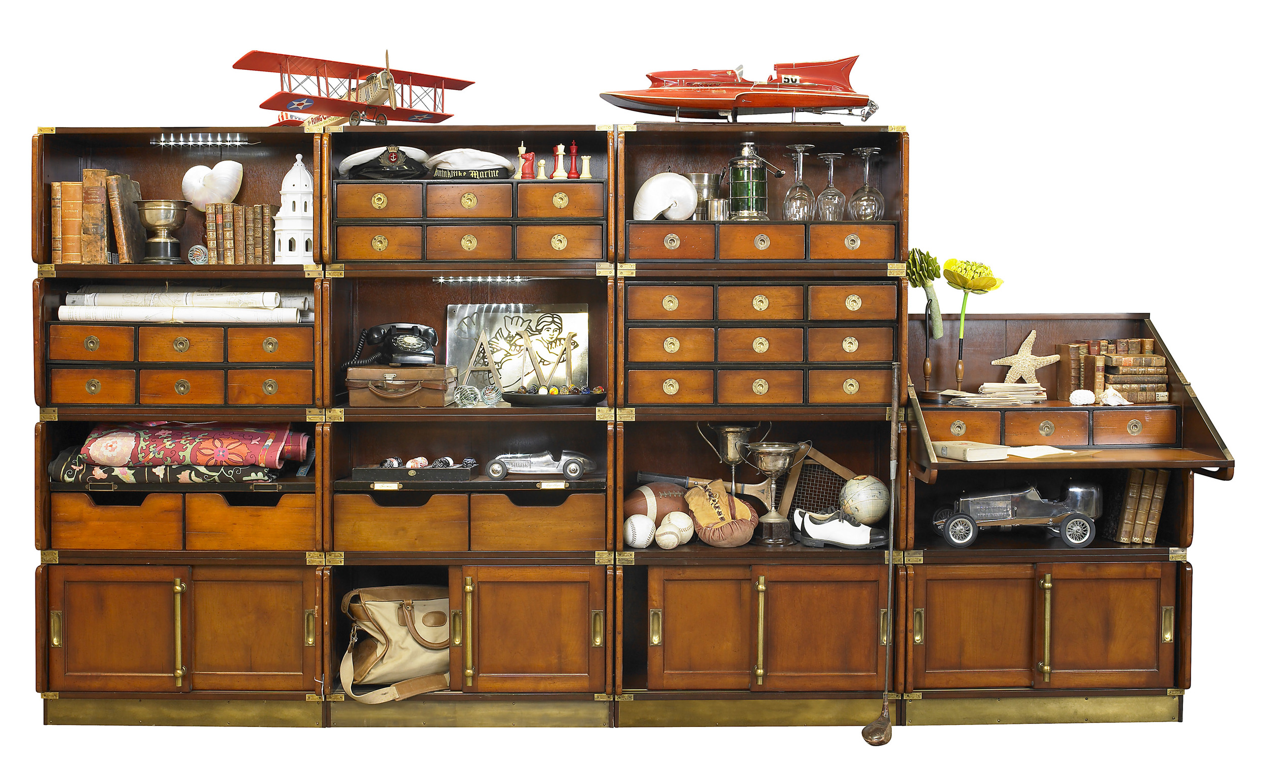 Campaign Modular System     -   19 individual elements, 15 insert elements                     Available Honey/Black/Ivory